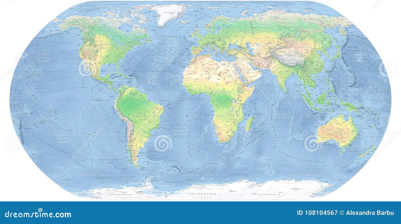 Карта карты мира детальная физическая