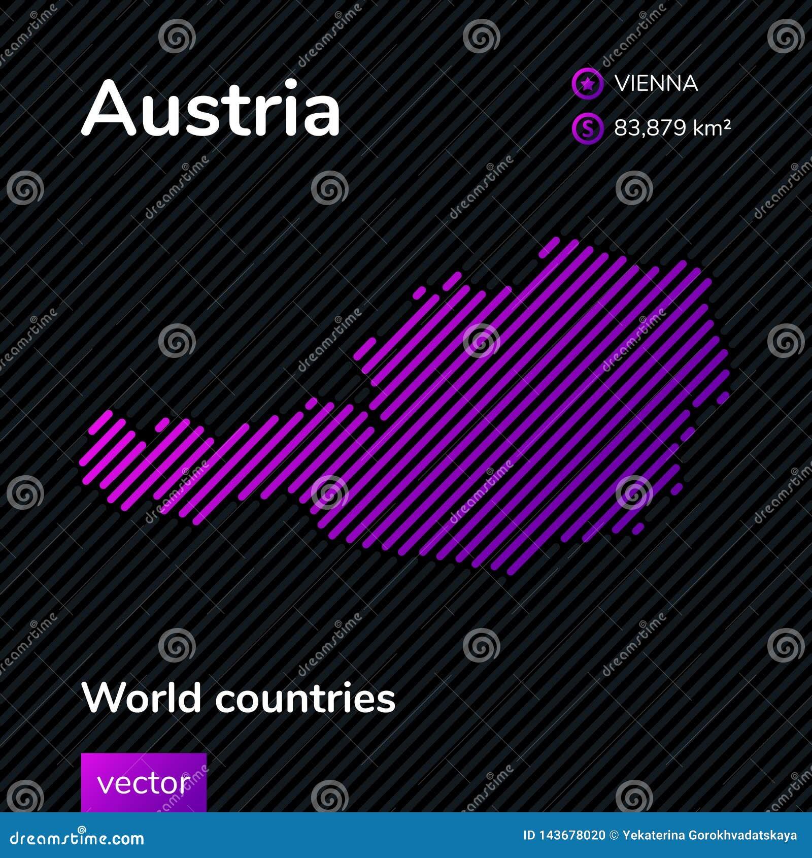 Карта конспекта вектора Австрии в цветах пинка, фиолетовых и черных