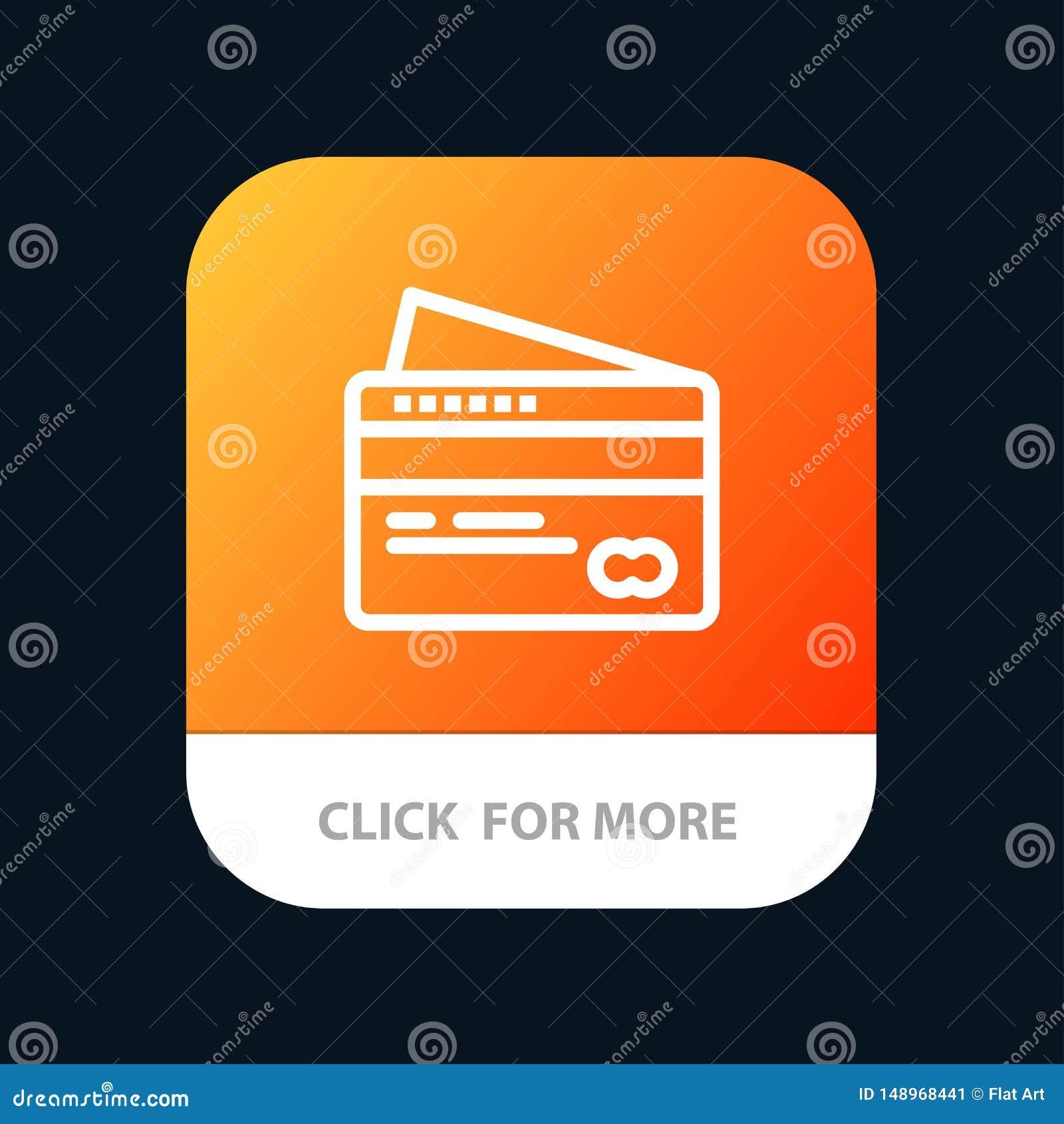 Карта, кредит, оплата, кнопка приложения оплаты мобильная Андроид и линия версия IOS