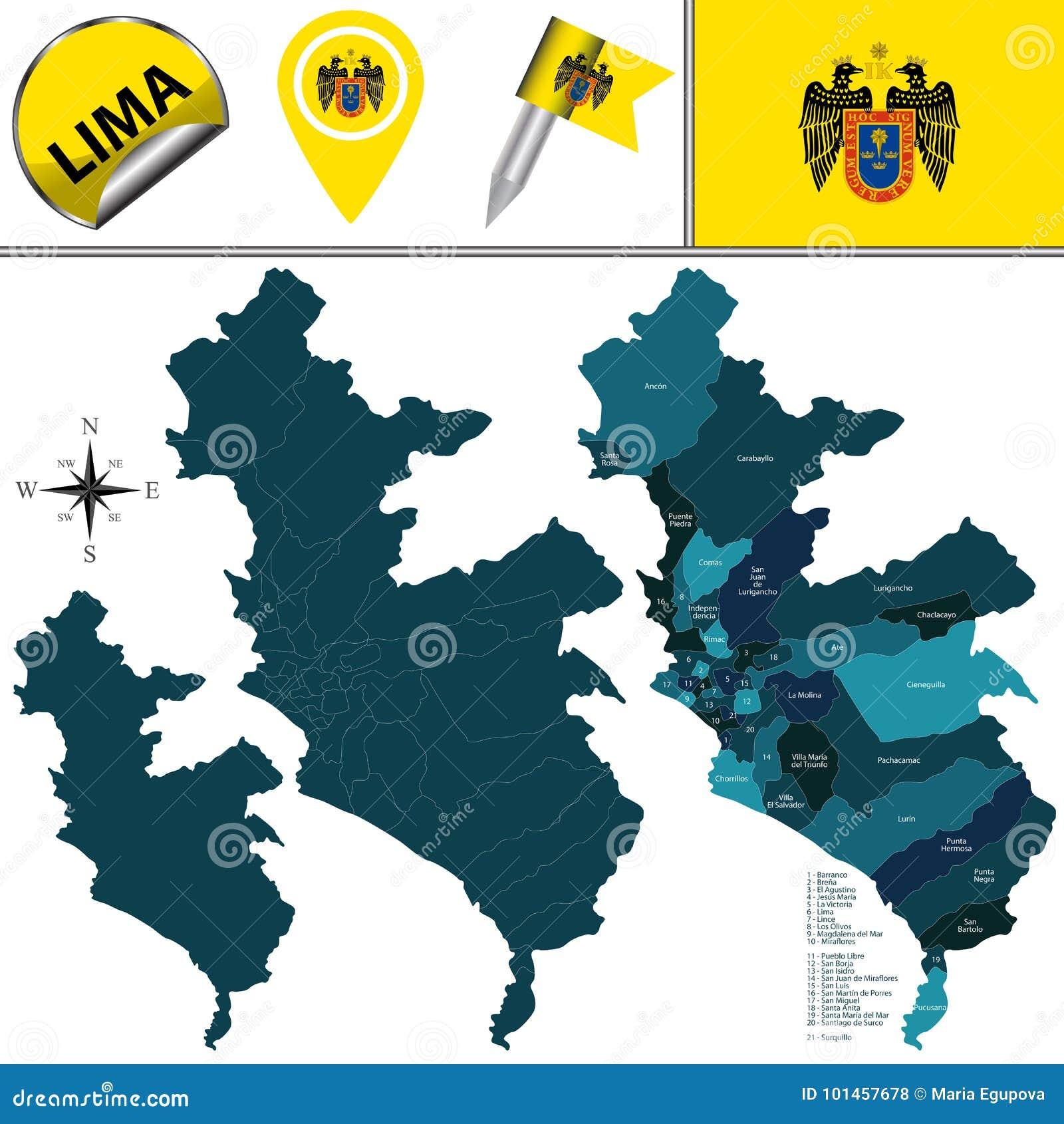 Карта Лимы с районами