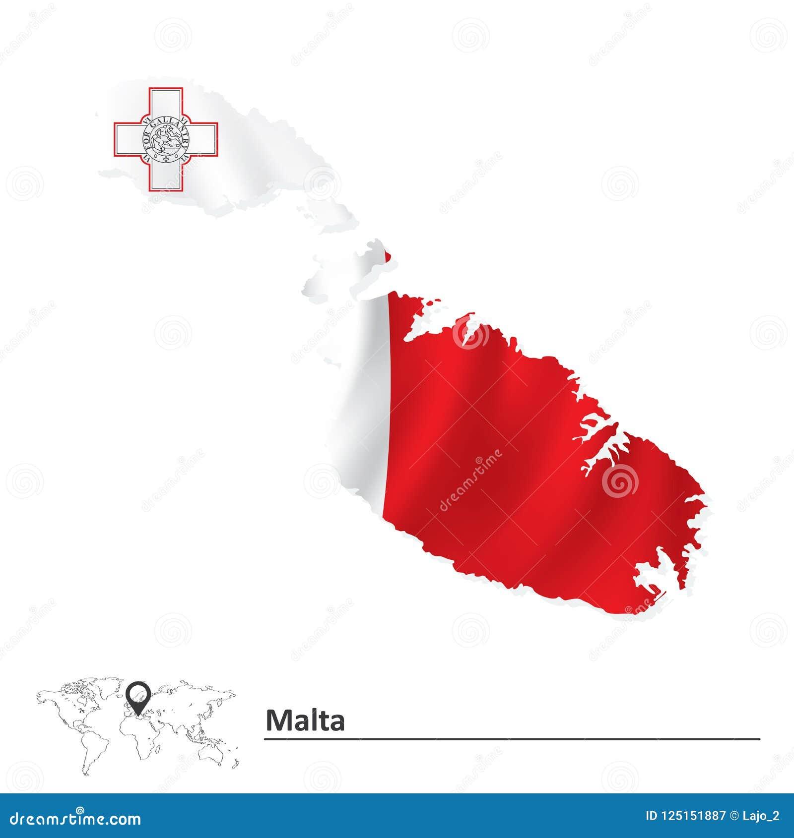 Карта Мальты с флагом