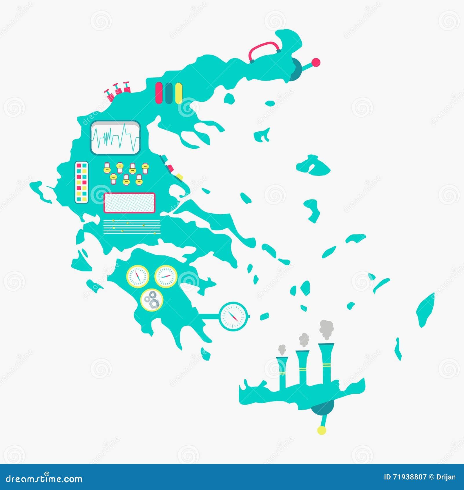 Карта машины Греции