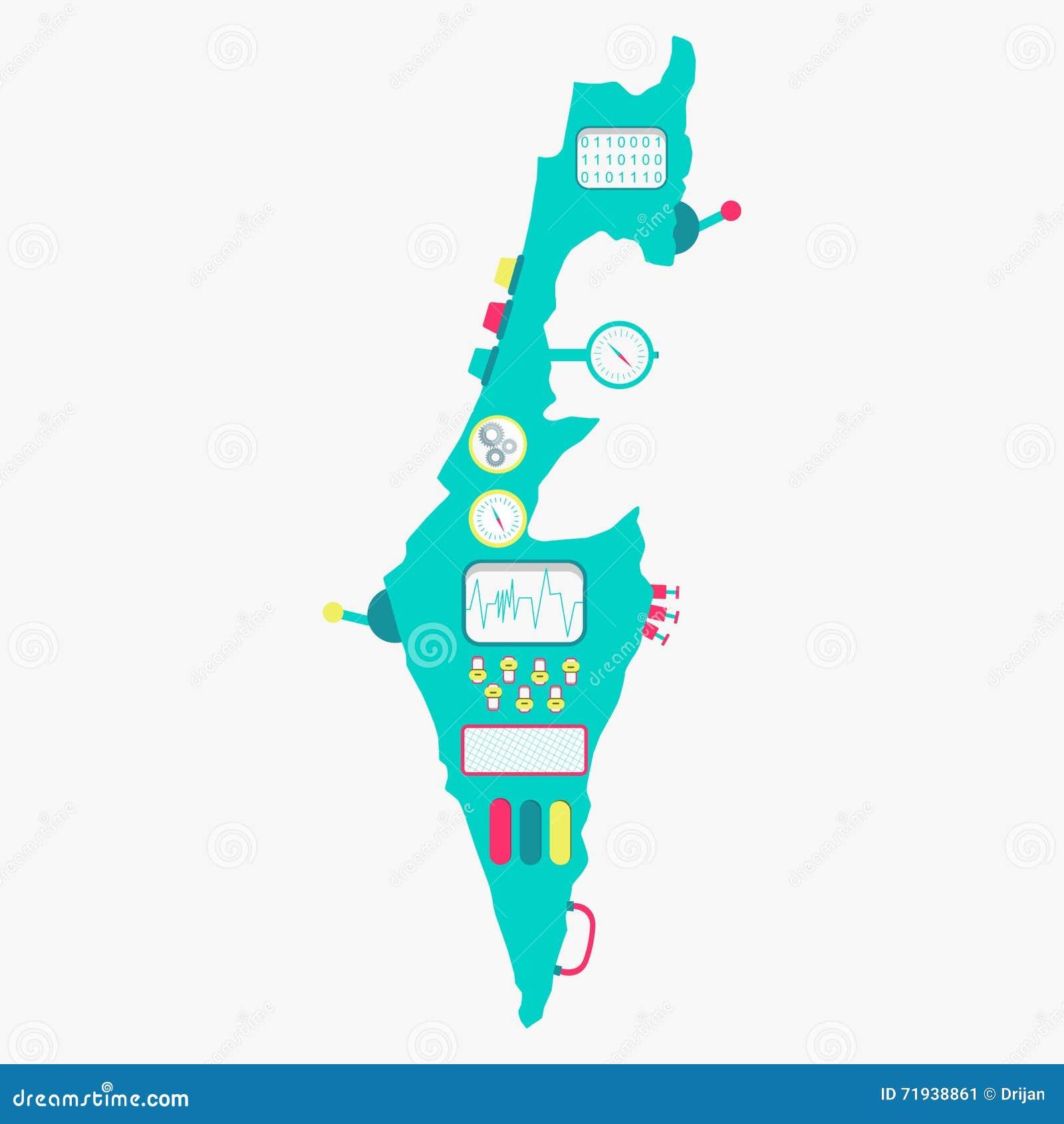 Карта машины Израиля