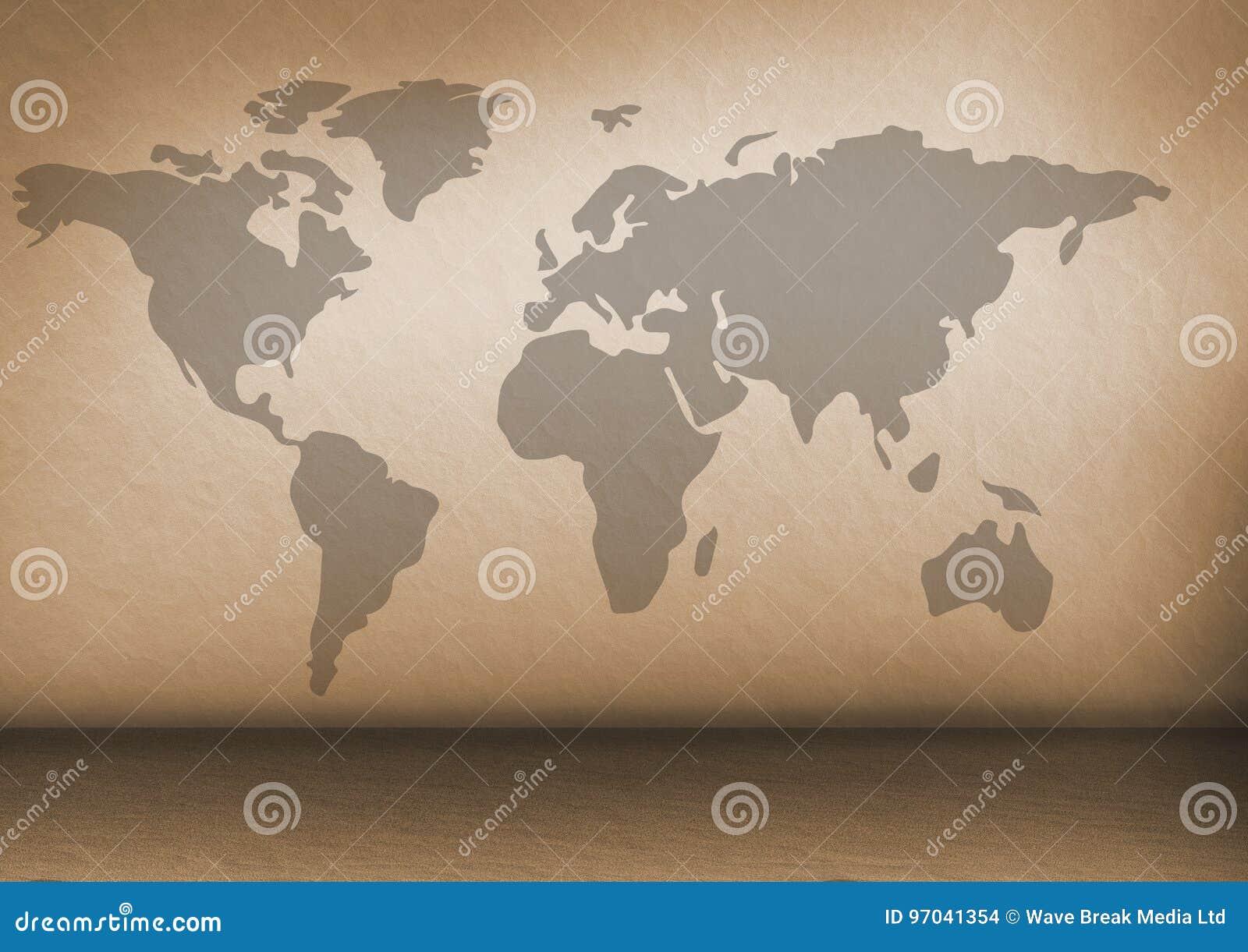 Карта мира на коричневой стене
