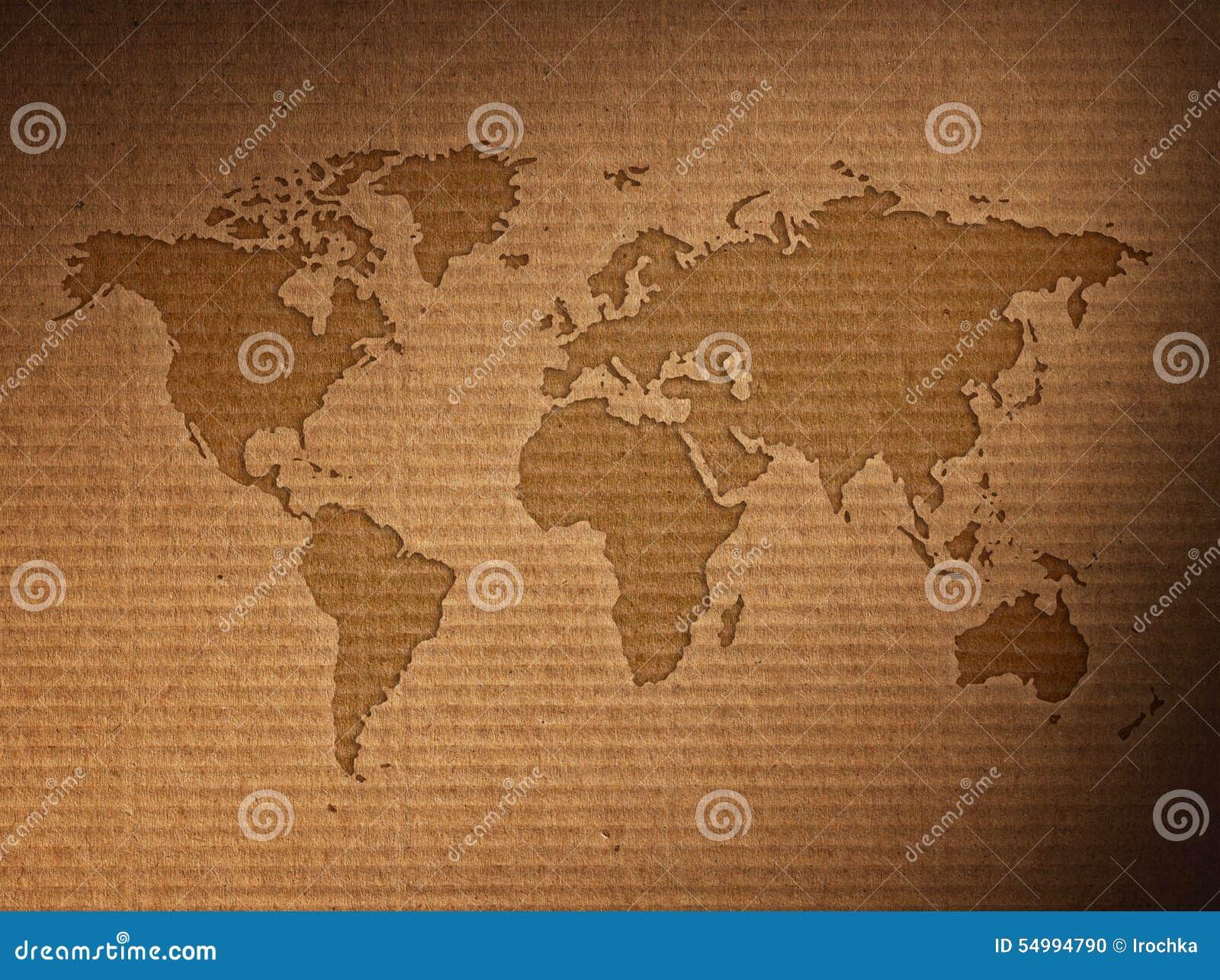 Карта мира показывает рифлёный картон