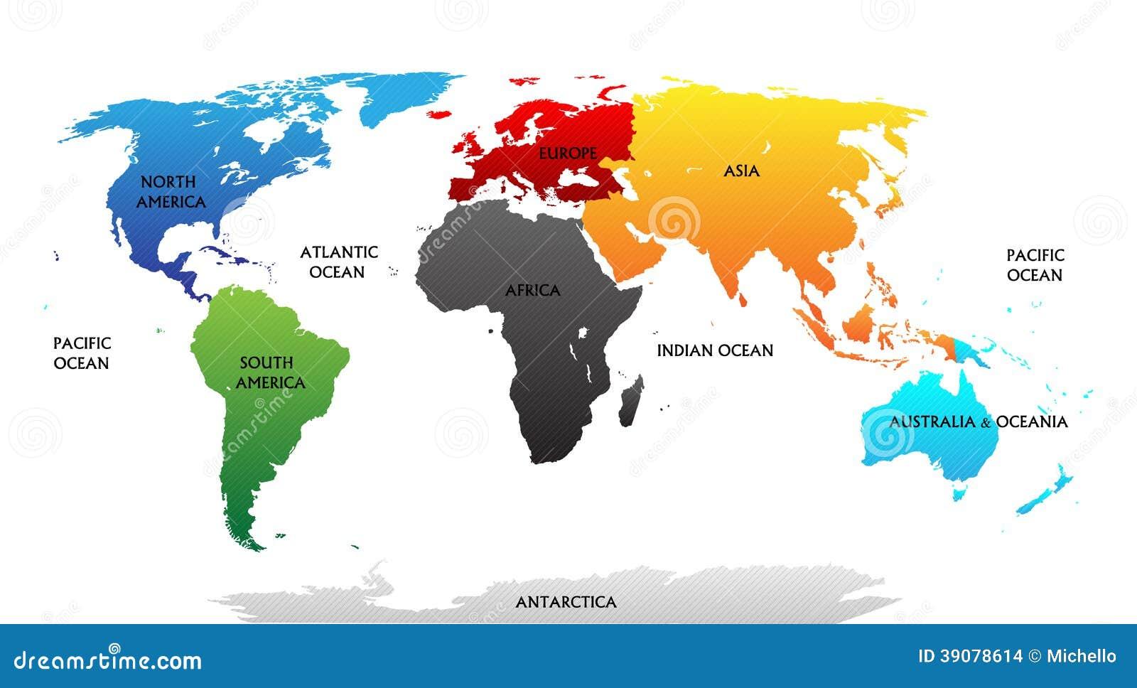 Карта мира с выделенными континентами