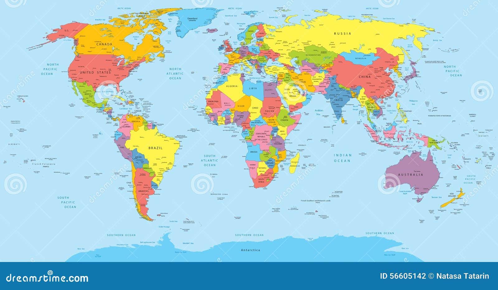 Карта мира с именами стран, страны и города