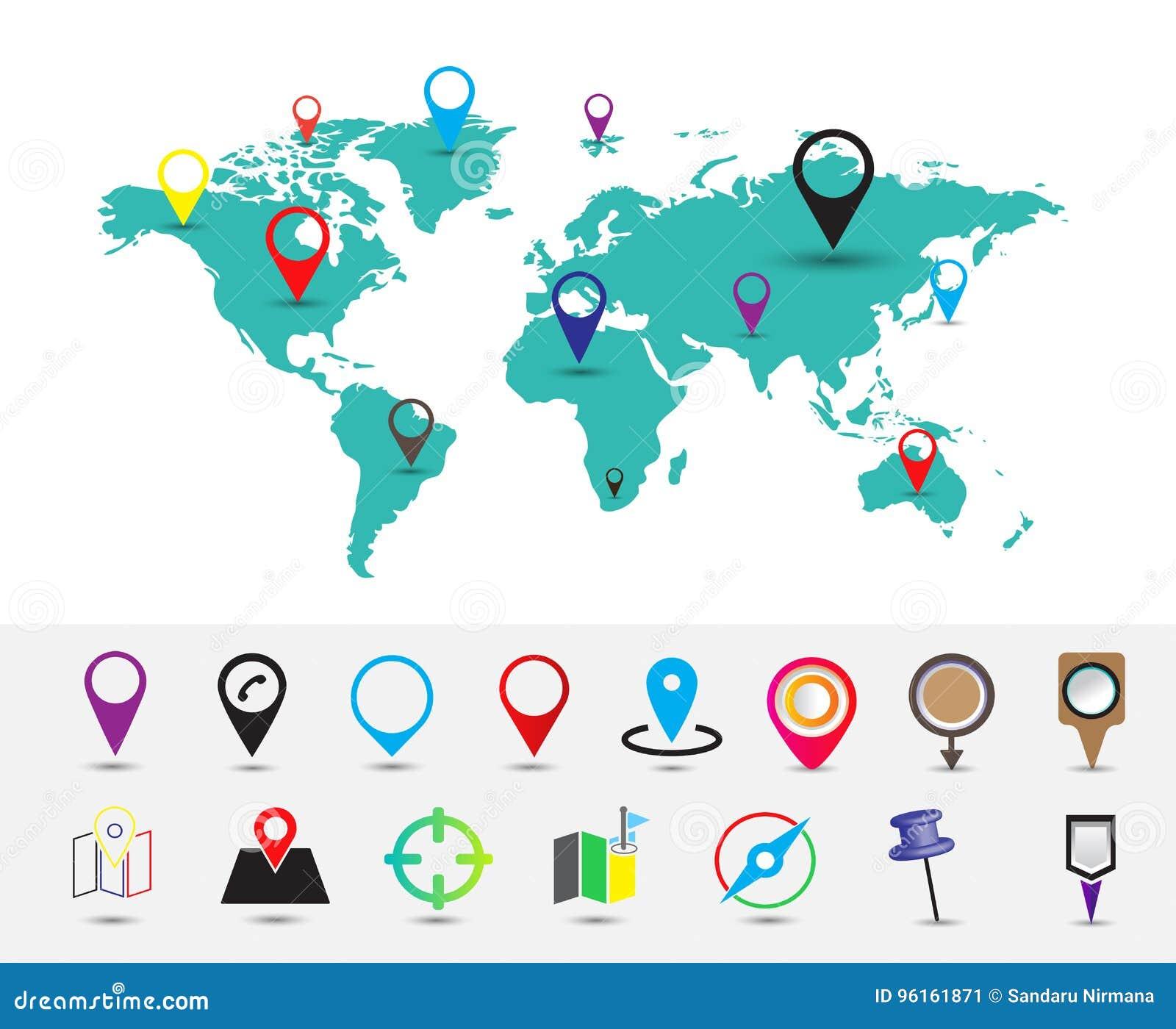 Карта мира с штырем положений