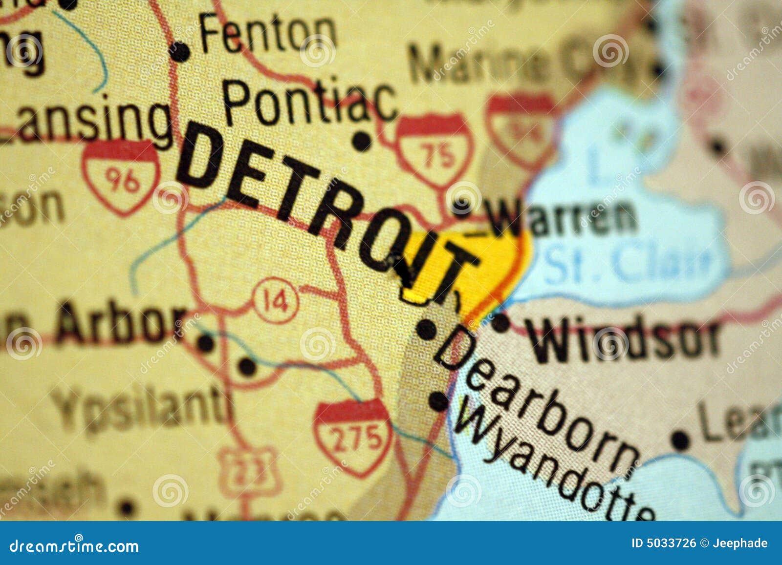 карта Мичиган detroit