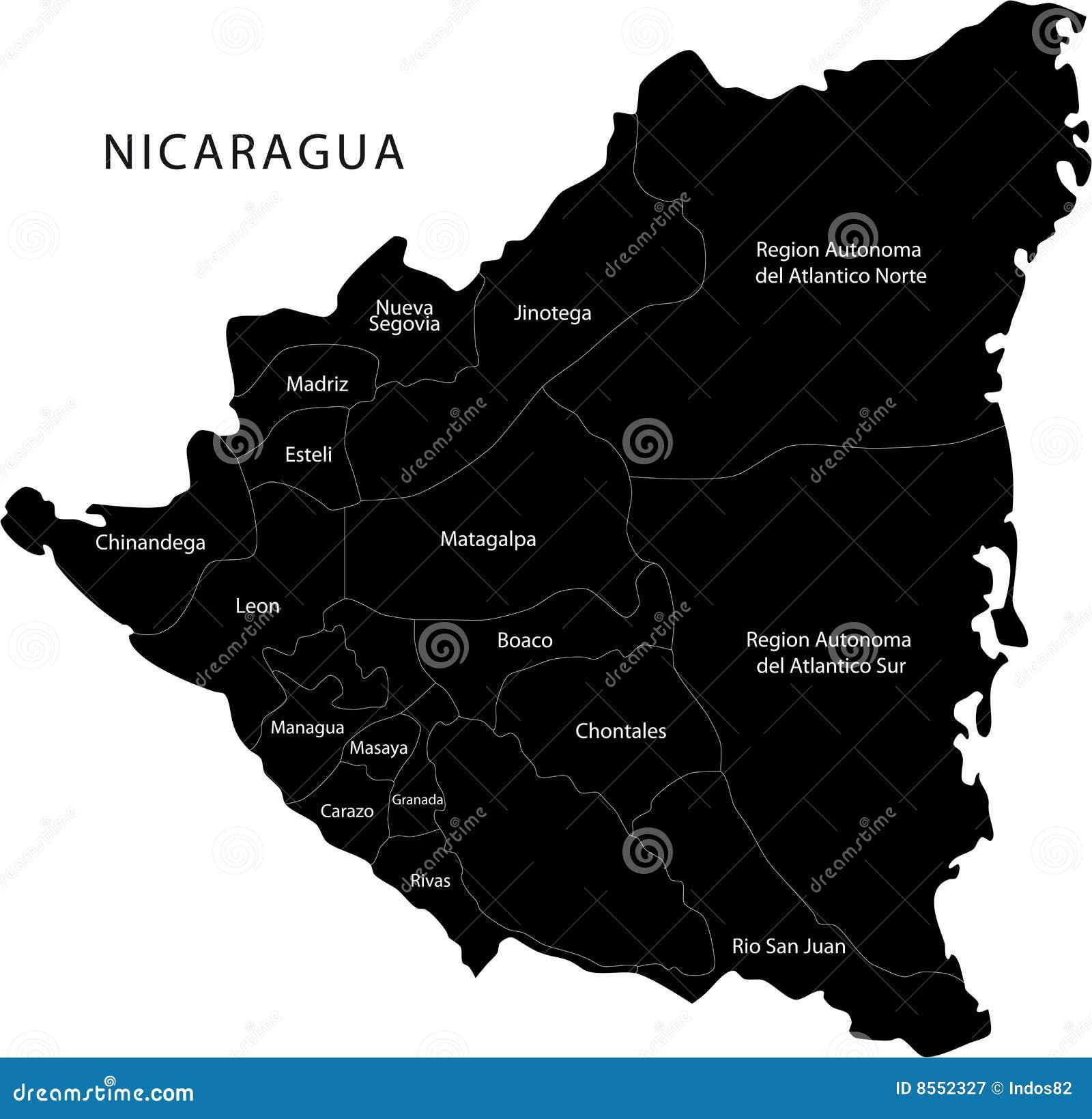Карта Никарагуаа вектора