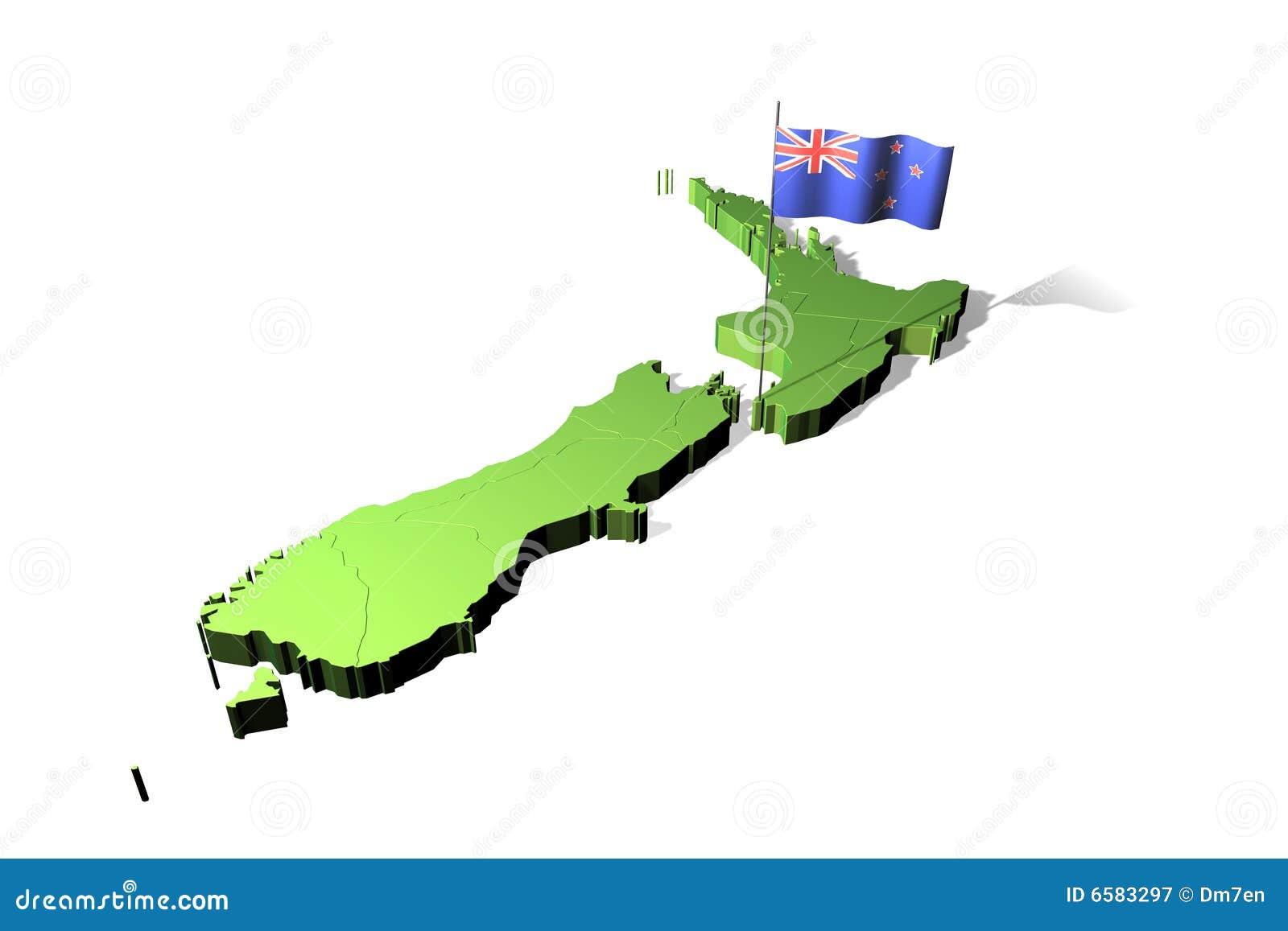карта Новая Зеландия флага