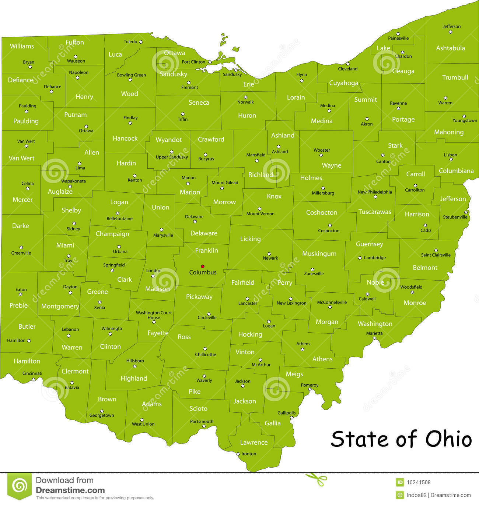Карта Огайо