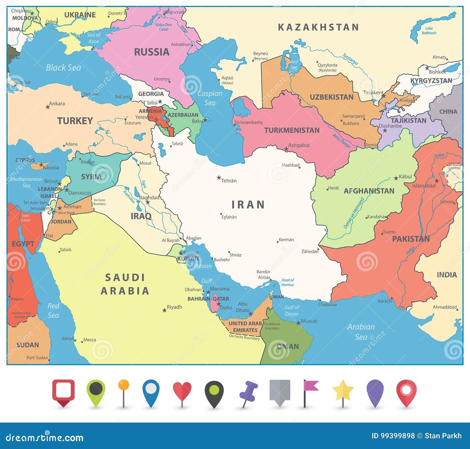 East Asia Meets The Southwest: Карта Передней Азии и плоские отметки карты Иллюстрация