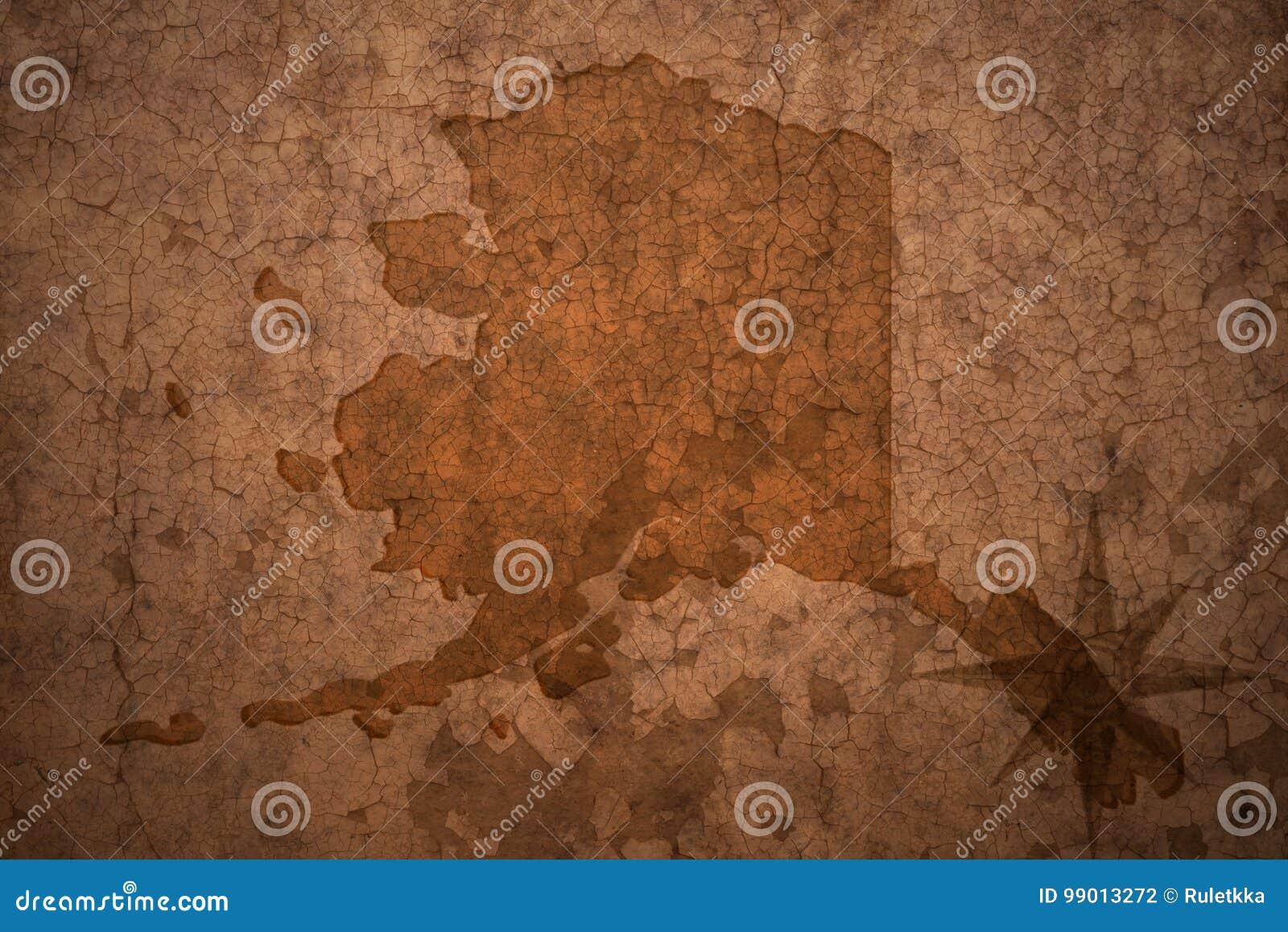 Карта положения Аляски на старой винтажной бумажной предпосылке