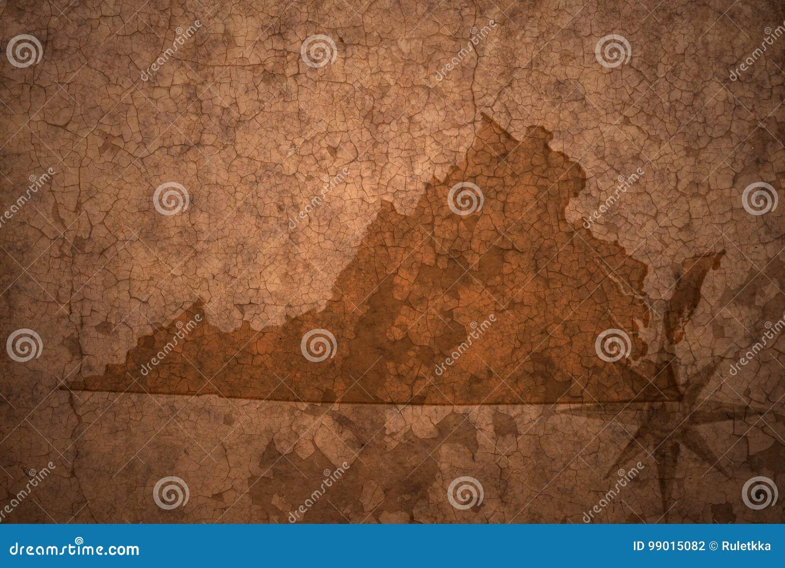 Карта положения Вирджинии на старой винтажной бумажной предпосылке