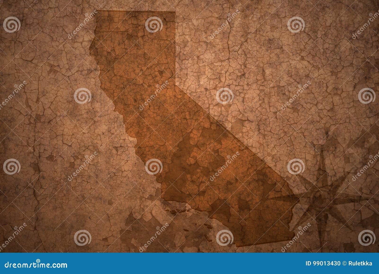 Карта положения Калифорнии на старой винтажной бумажной предпосылке