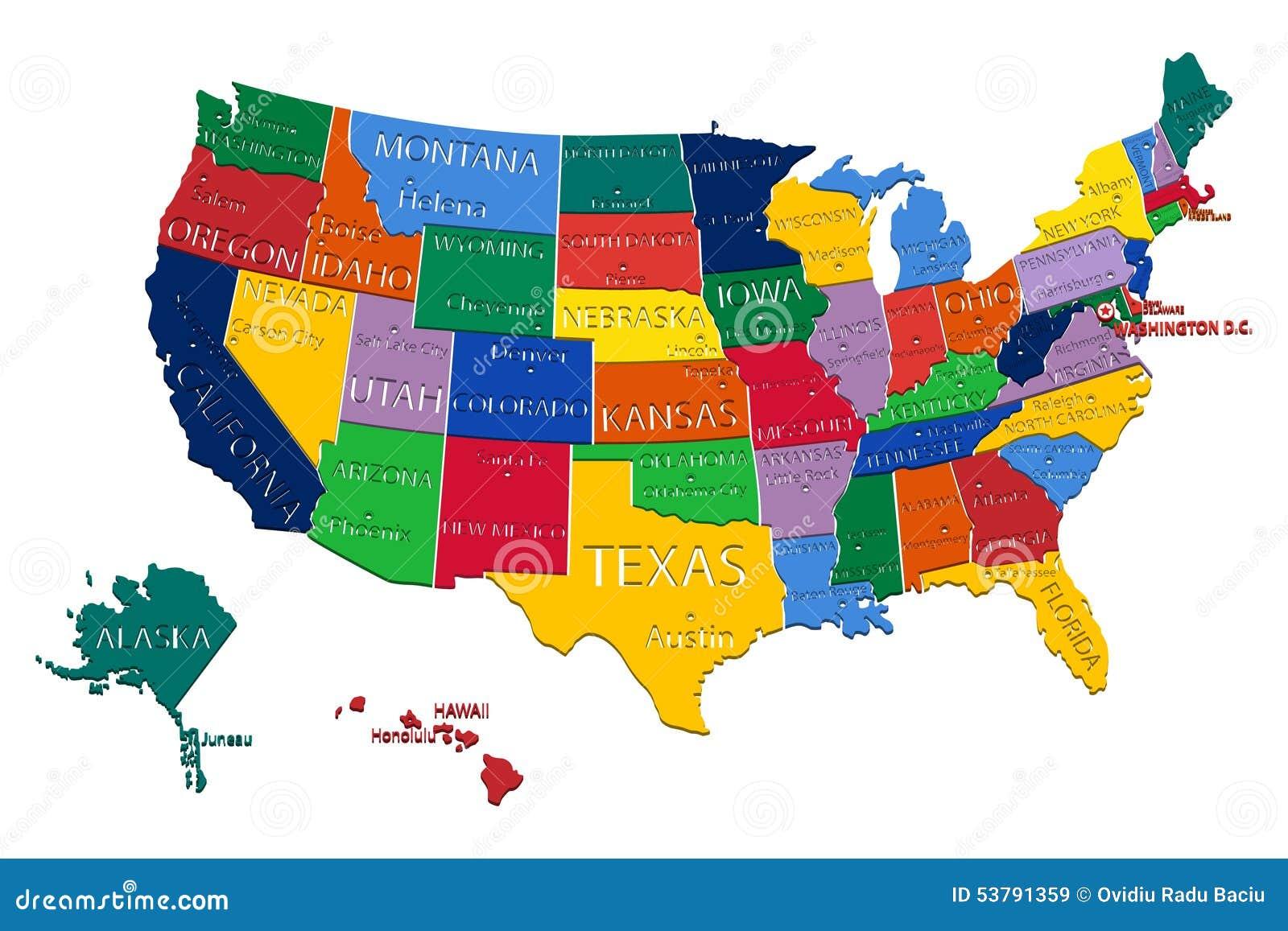карта положений США
