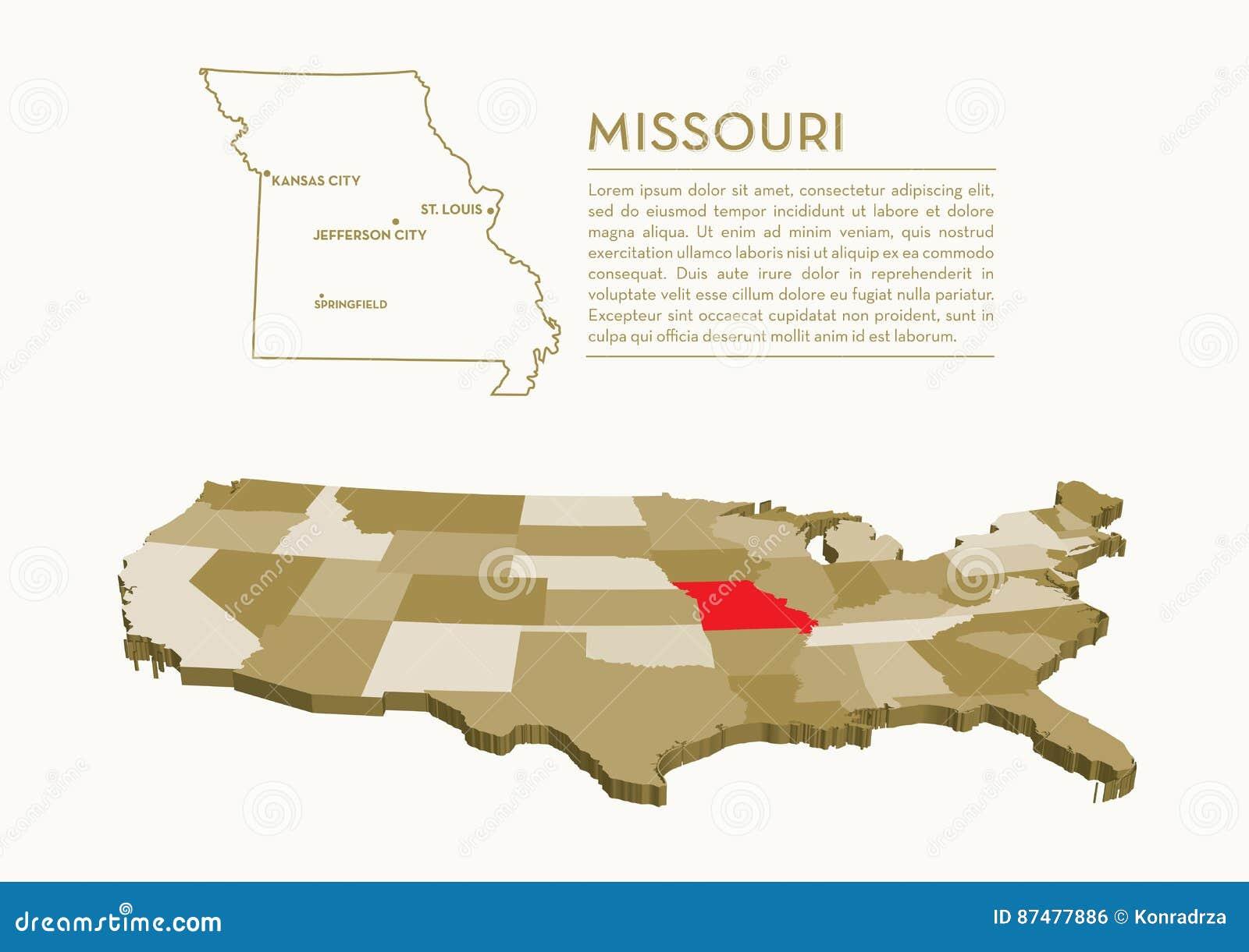карта положения 3D США - МИССУРИ