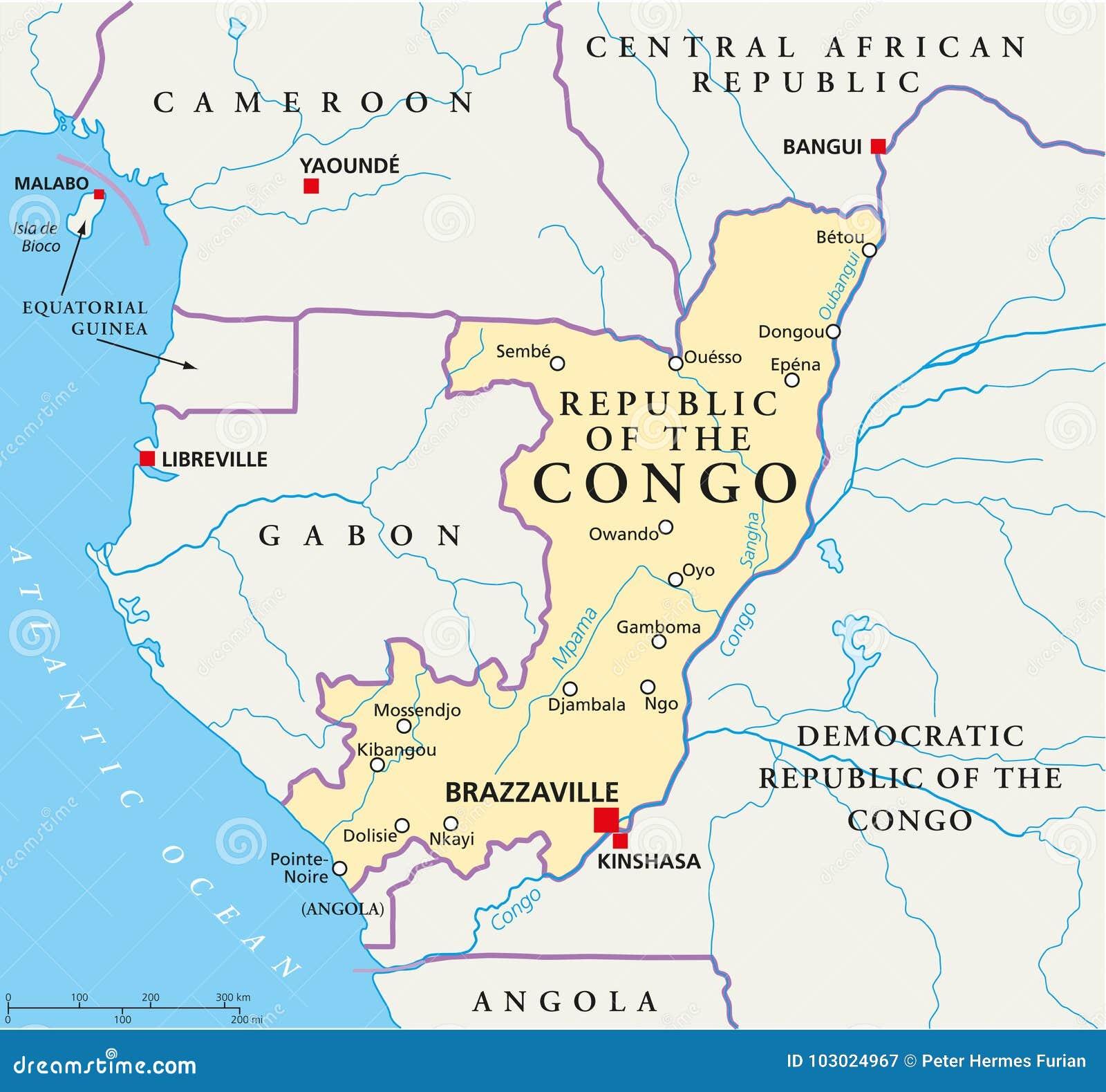 Карта Республики Конго политическая