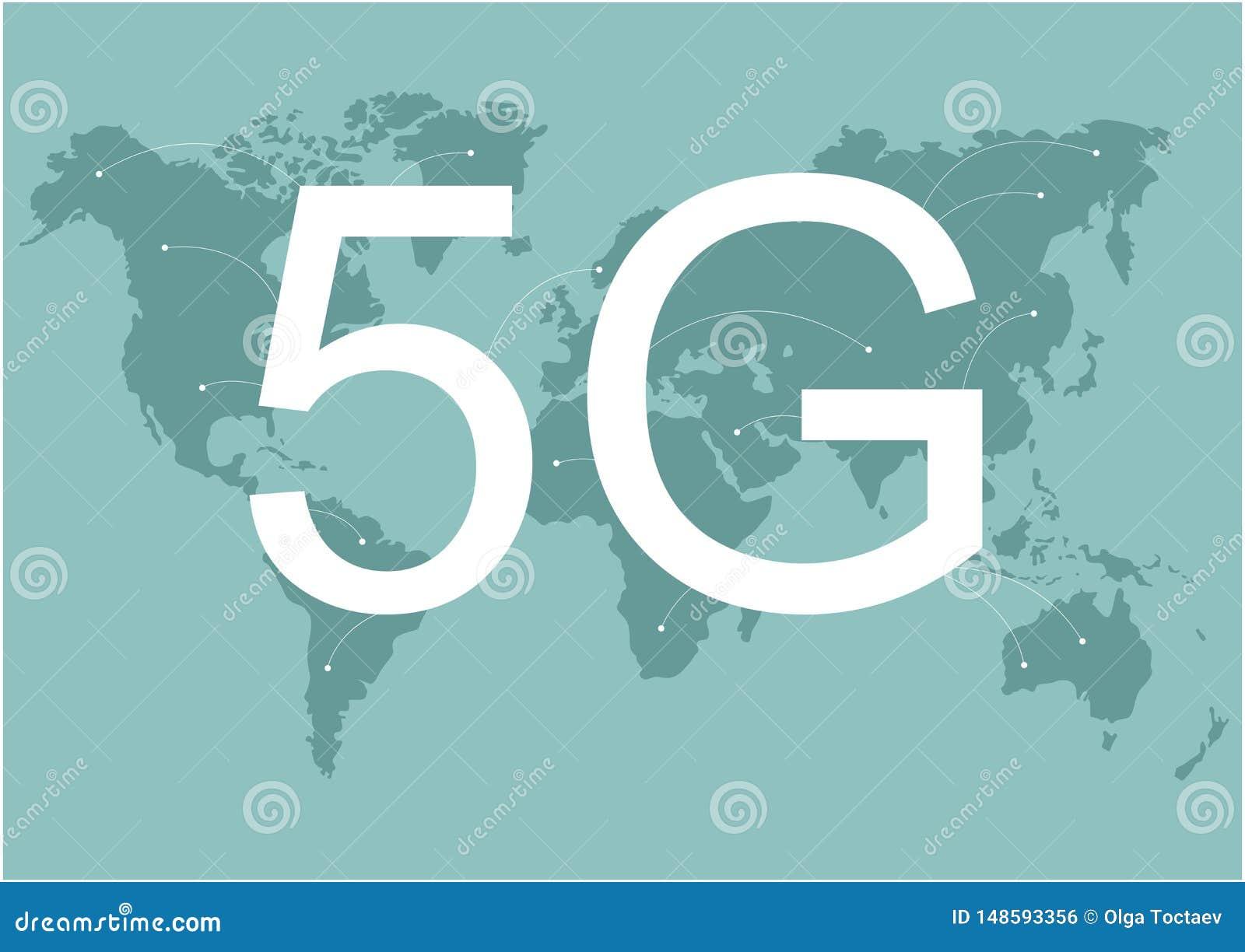 карта сетей связей земли сети 4g 5g глобальная соединений снабжения голубой карты мира глобальных Скорость беспроводной сети