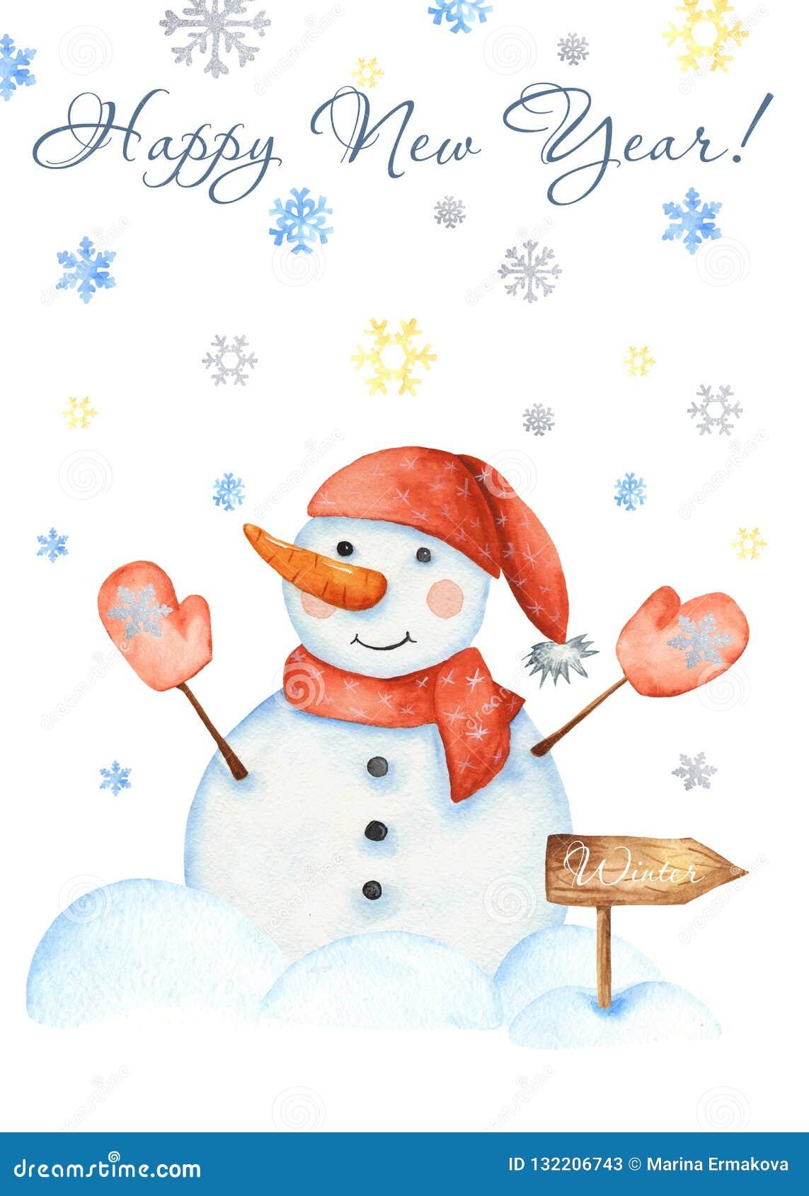 Карта со снеговиком, снежинки зимы акварели, игрушки рождества, сугробы