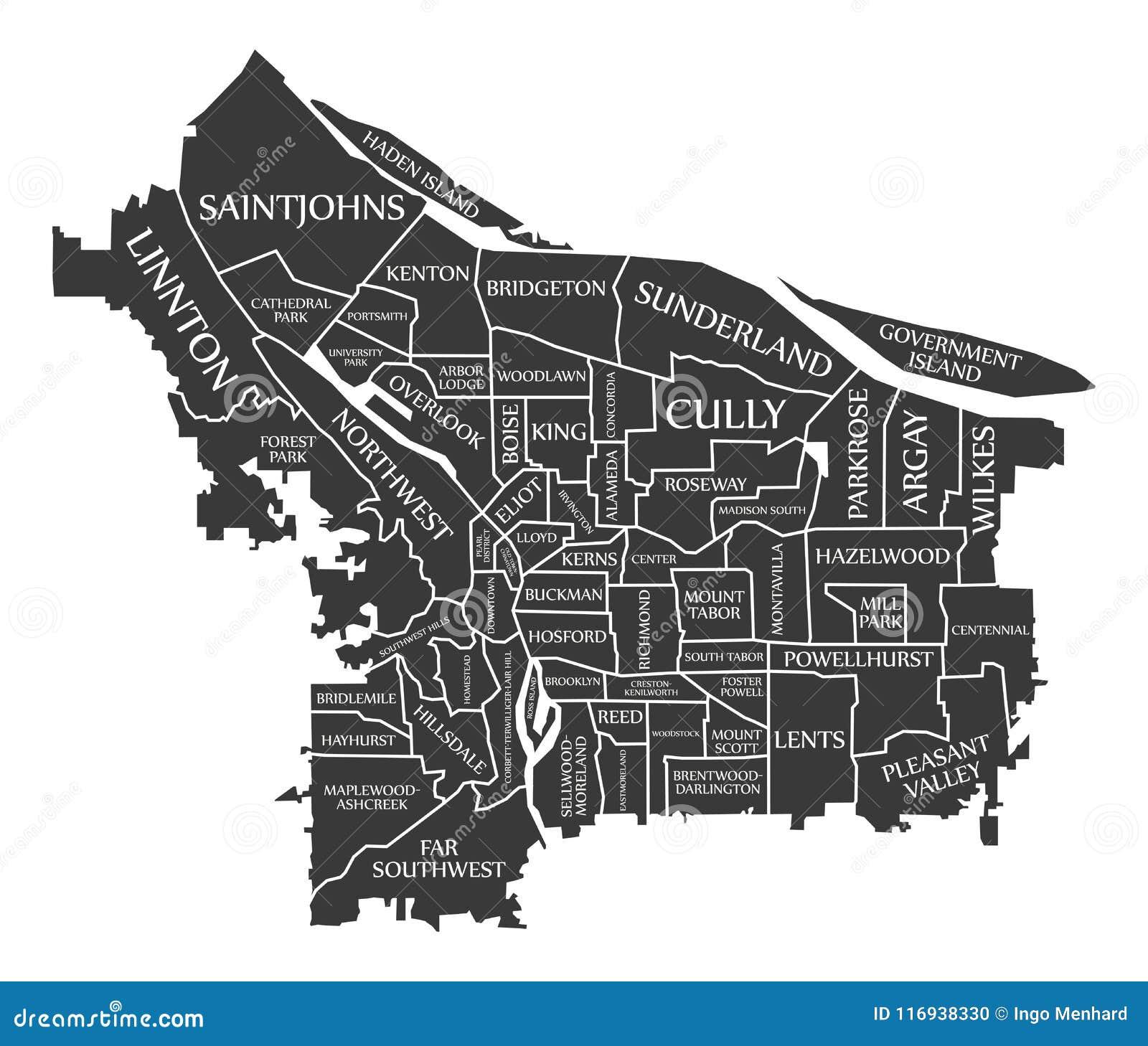 Карта США города Портленда Орегона обозначила черную иллюстрацию