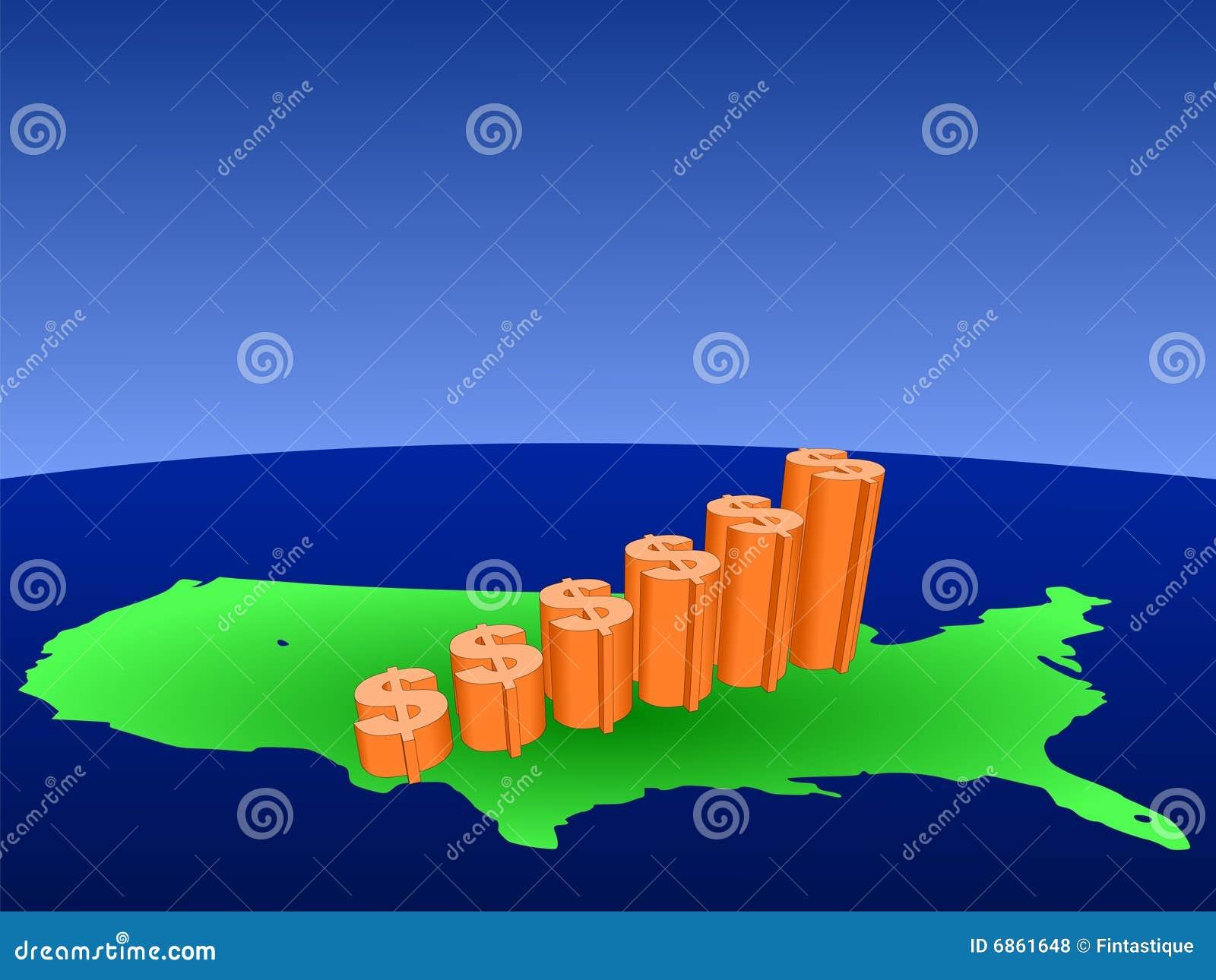 карта США диаграммы доллара