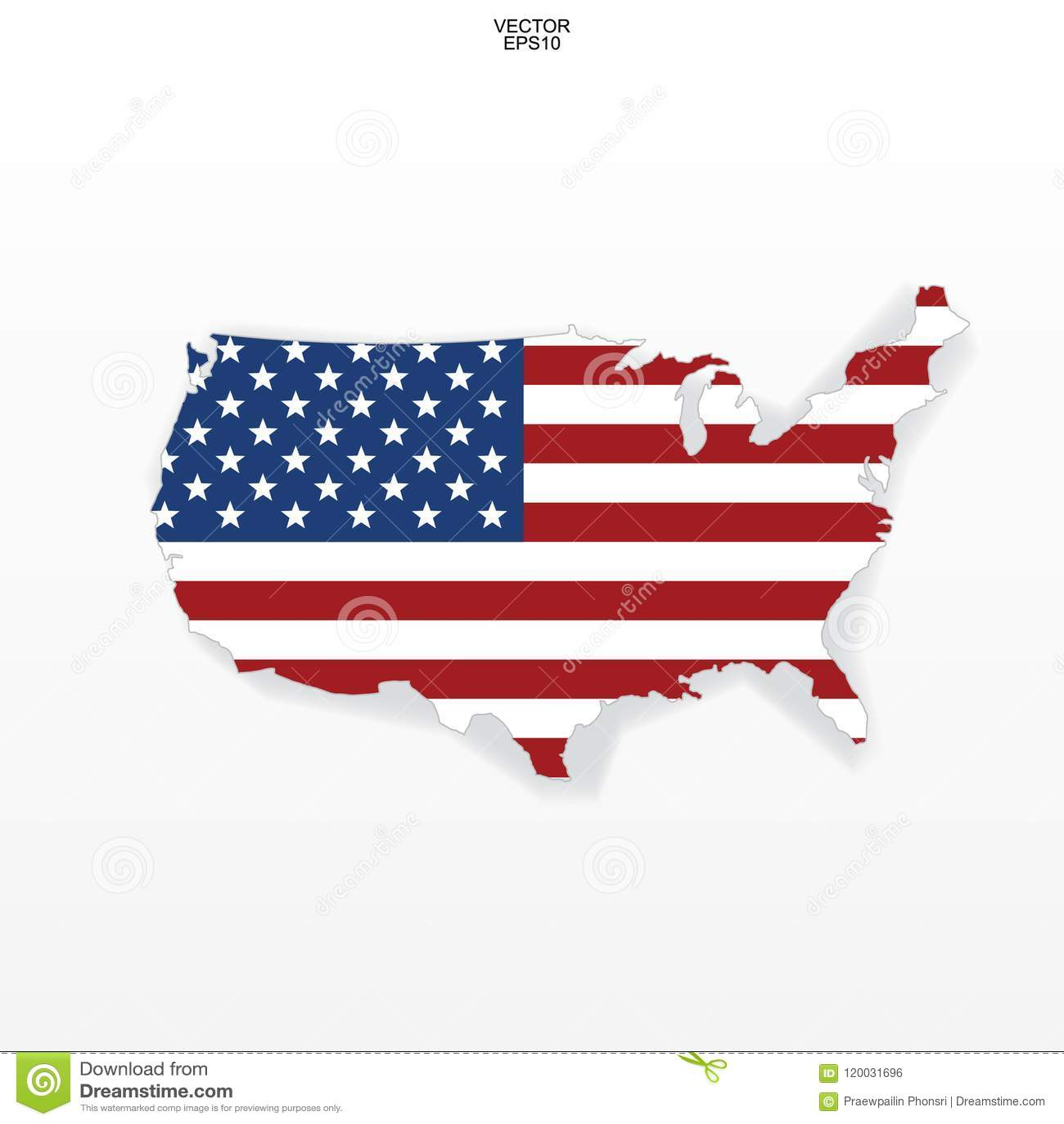 Карта США с картиной американского флага План карты ` Соединенных Штатов Америки ` на белой предпосылке