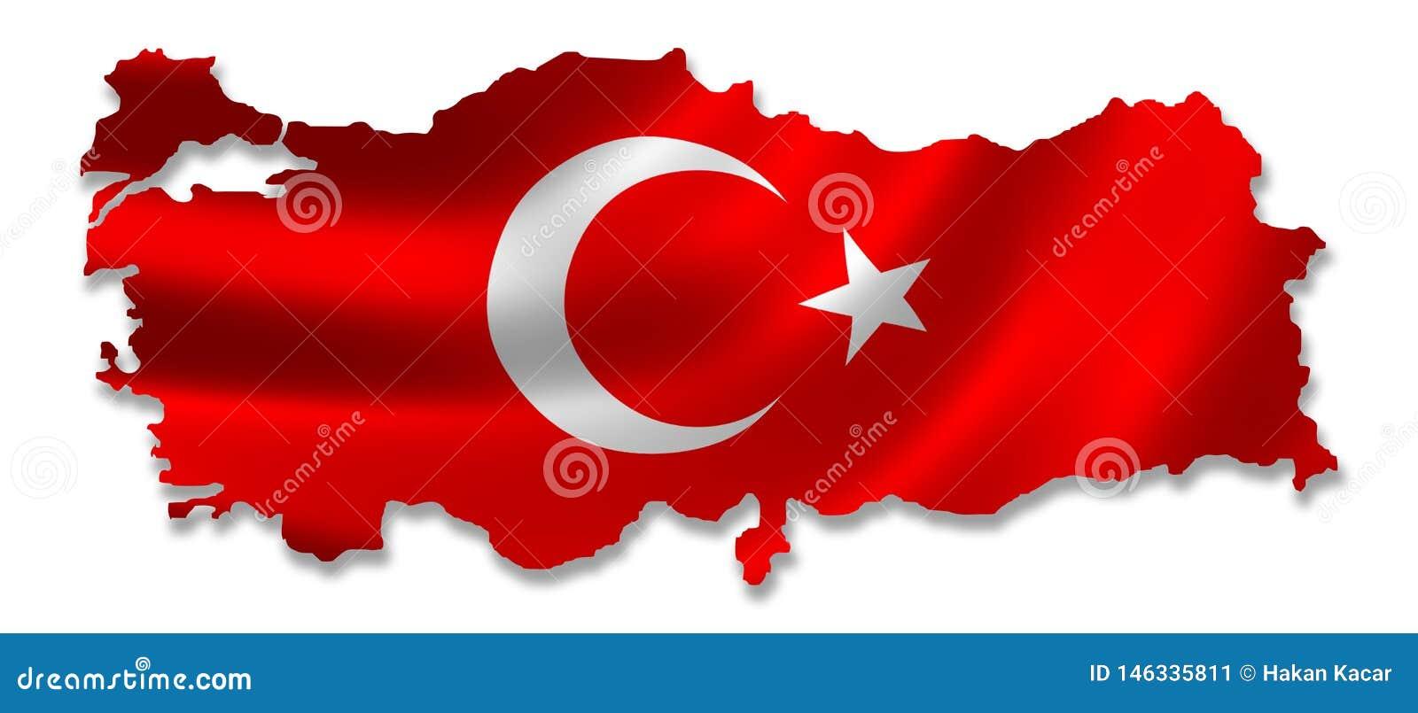 Карта Турции с флагом