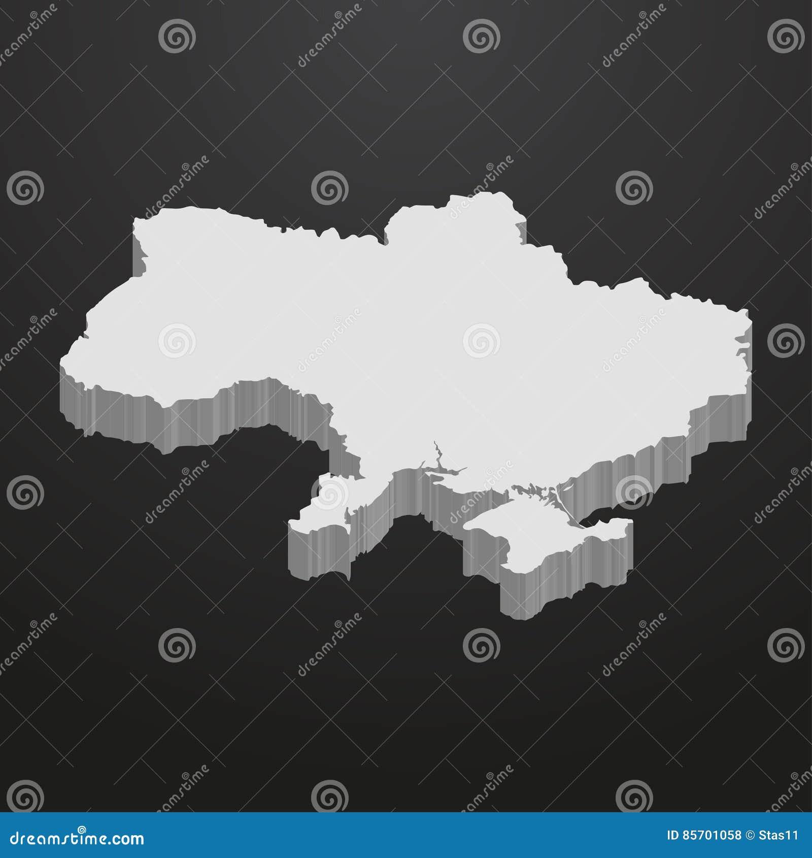 Карта Украины в сером цвете на черной предпосылке 3d