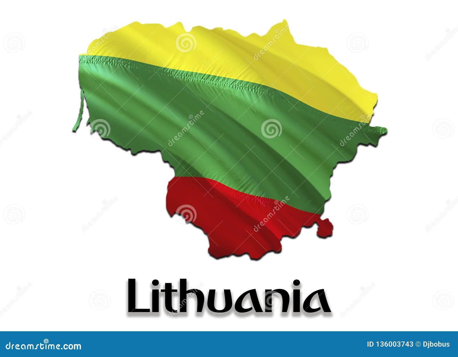 Карта флага Литвы 3D представляя карту и флаг Литвы Национальный символ Литвы Национальный развевая флаг красочный