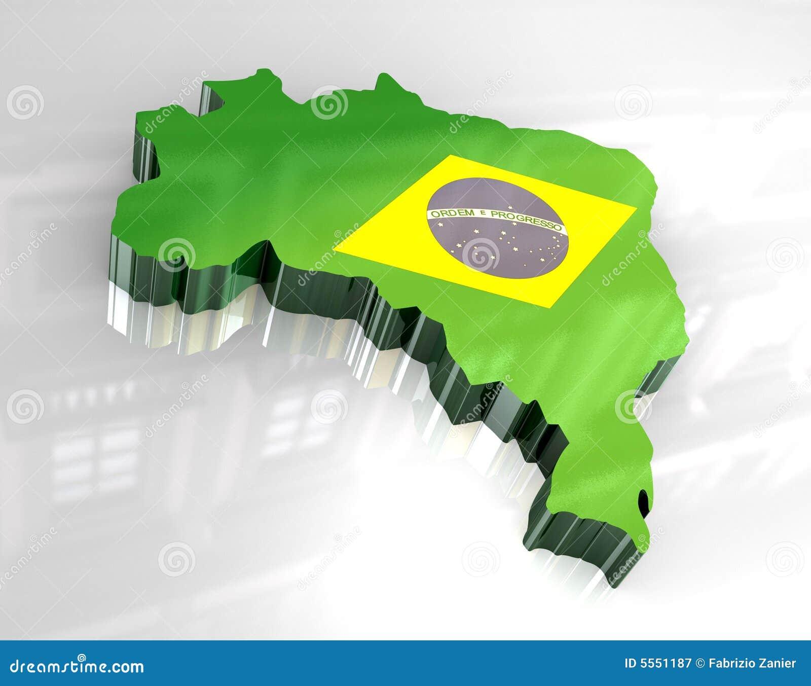 карта флага 3d Бразилии