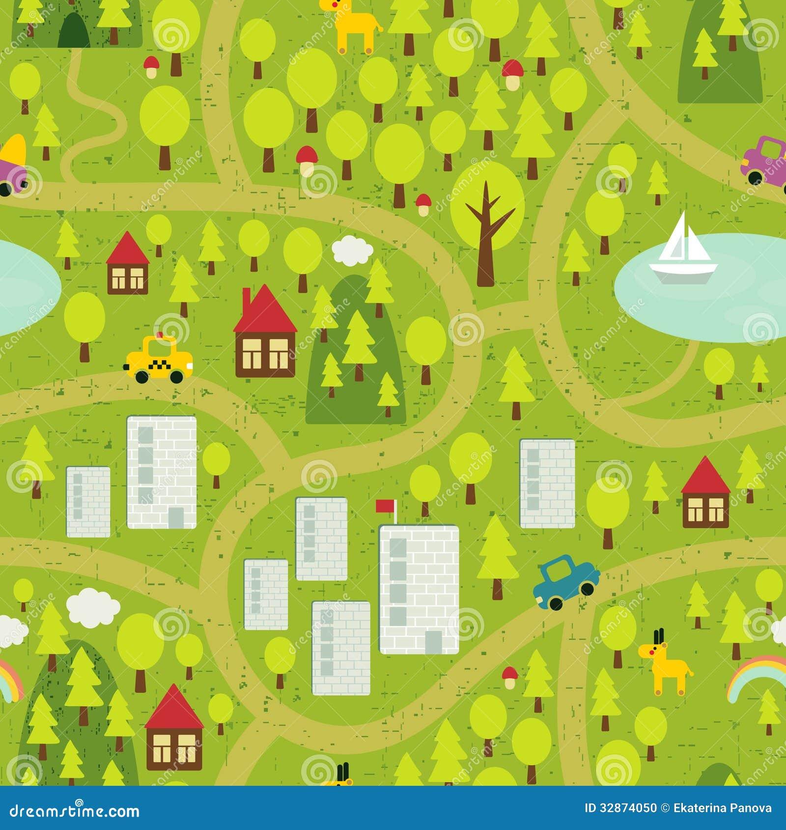 Карта шаржа маленького города и сельской местности.