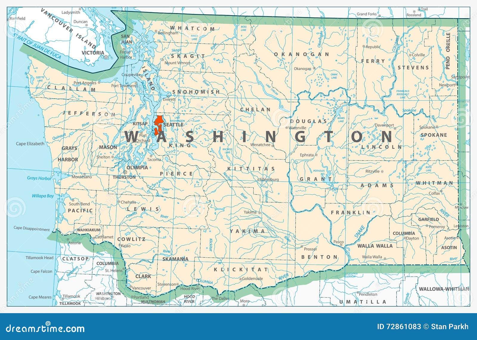 Karta Shtata Vashingtona Detalnaya Illyustraciya Vektora Illyustracii