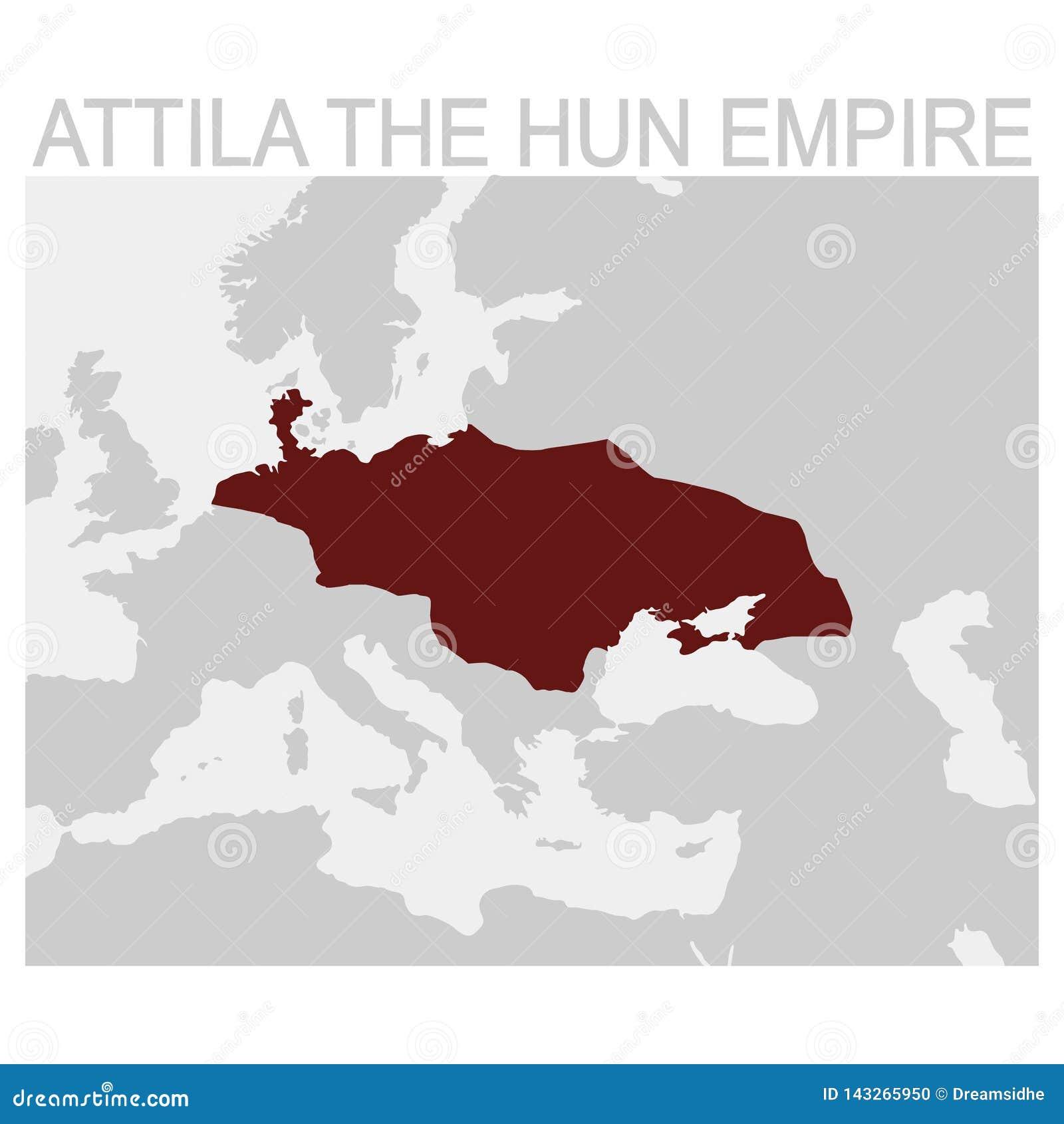карта Attila империя гунна