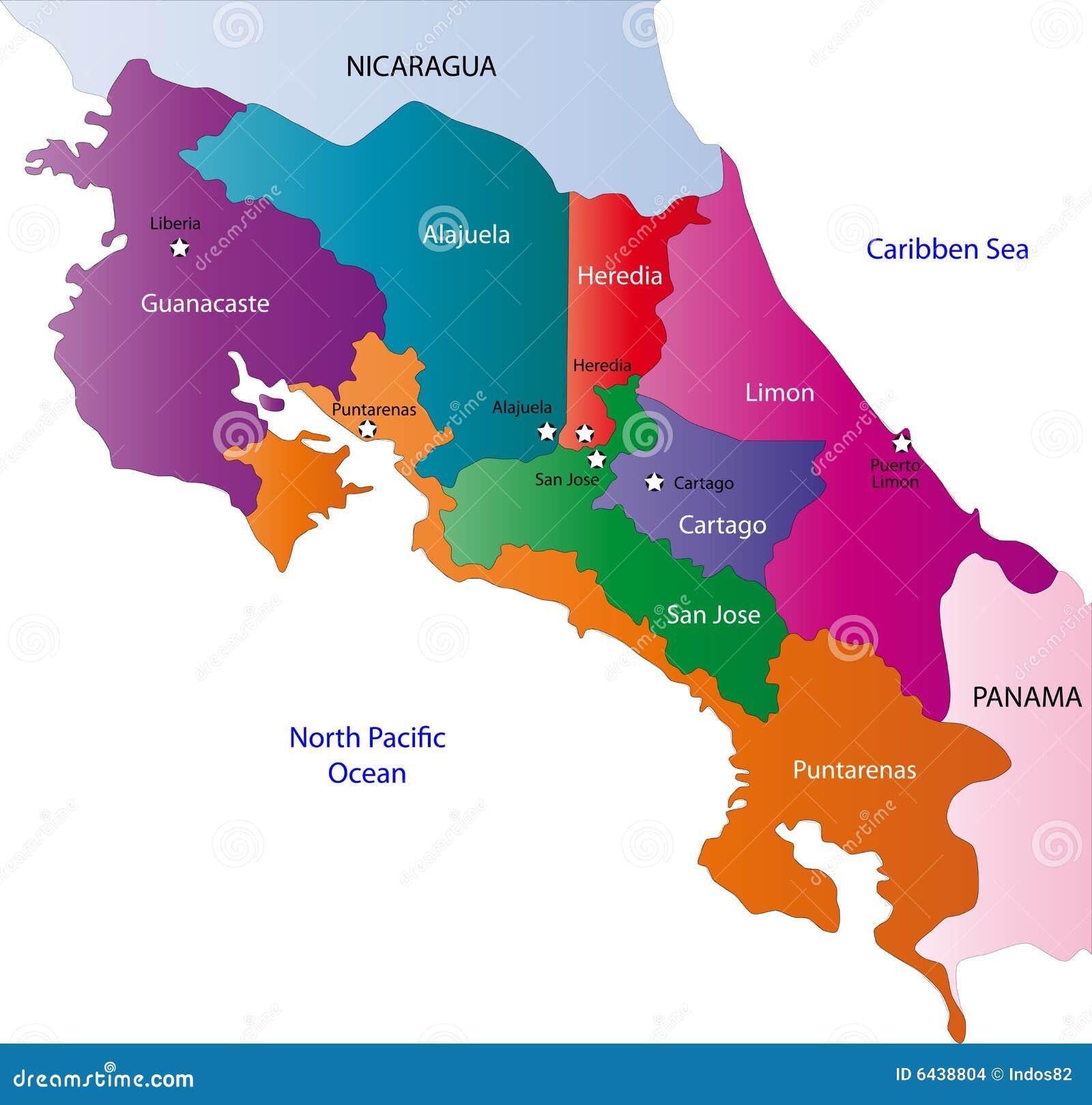 Карта Costa Rica