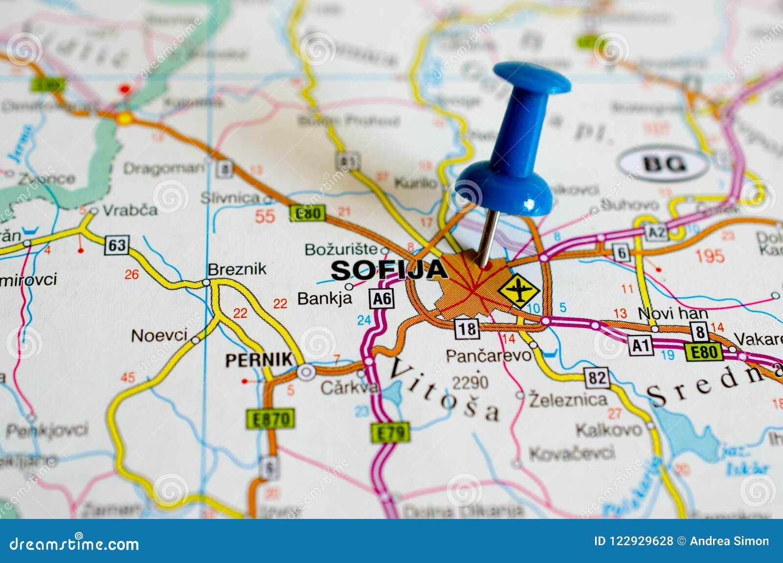 Karta Sofia Stokovoe Foto Izobrazhenie Naschityvayushej Gorod 122929628
