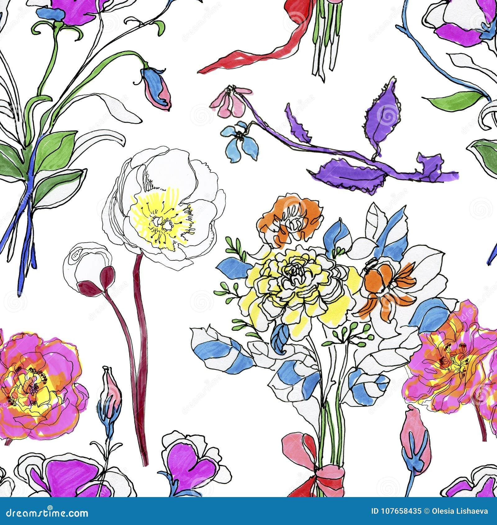 Картина абстрактной элегантности безшовная с флористической предпосылкой