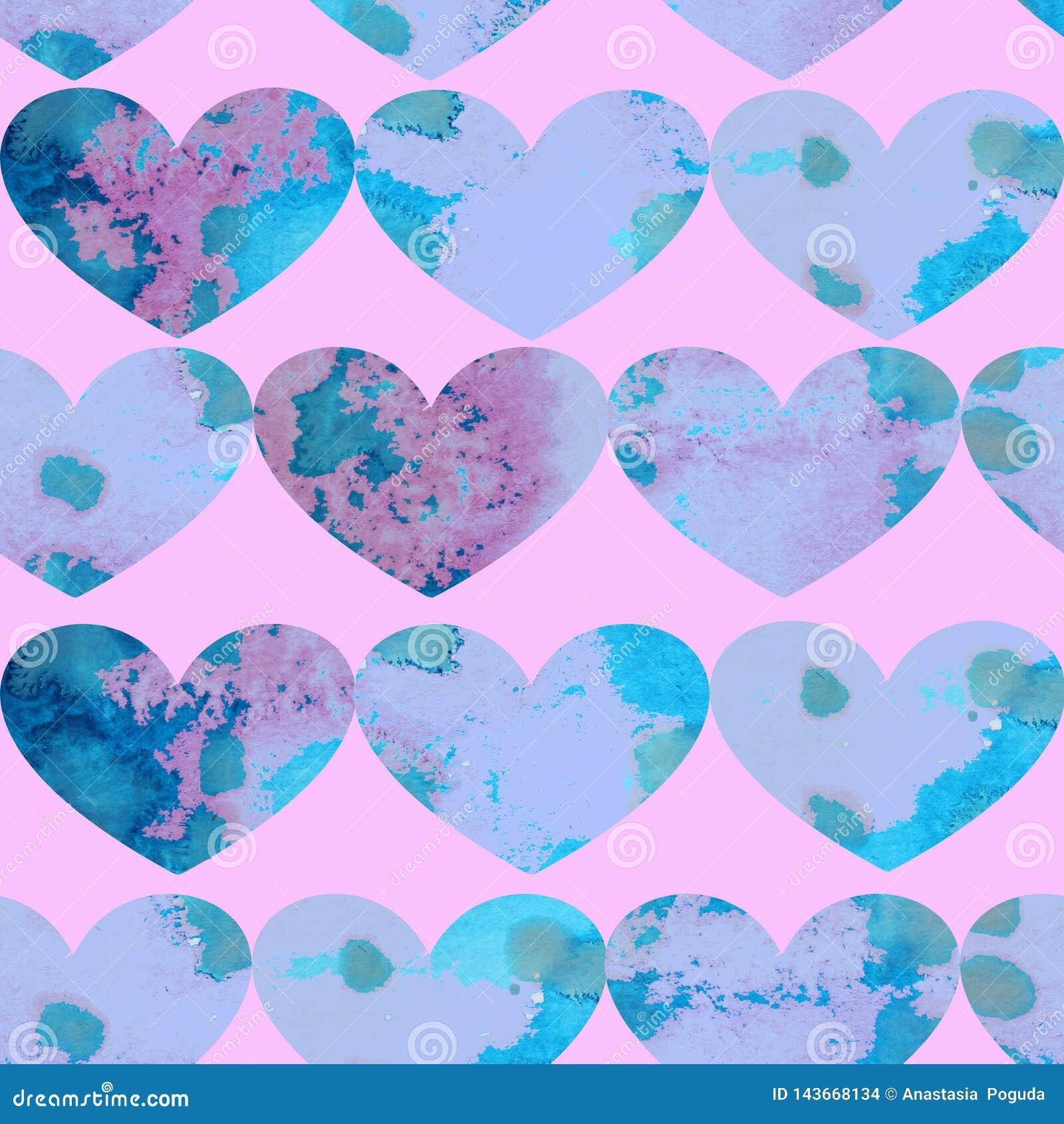 Картина акварели безшовная голубых текстурированных сердец на розовой предпосылке