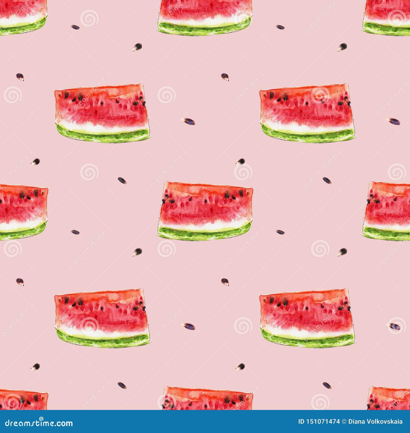 Картина акварели безшовная от красных сочных slicies арбуза