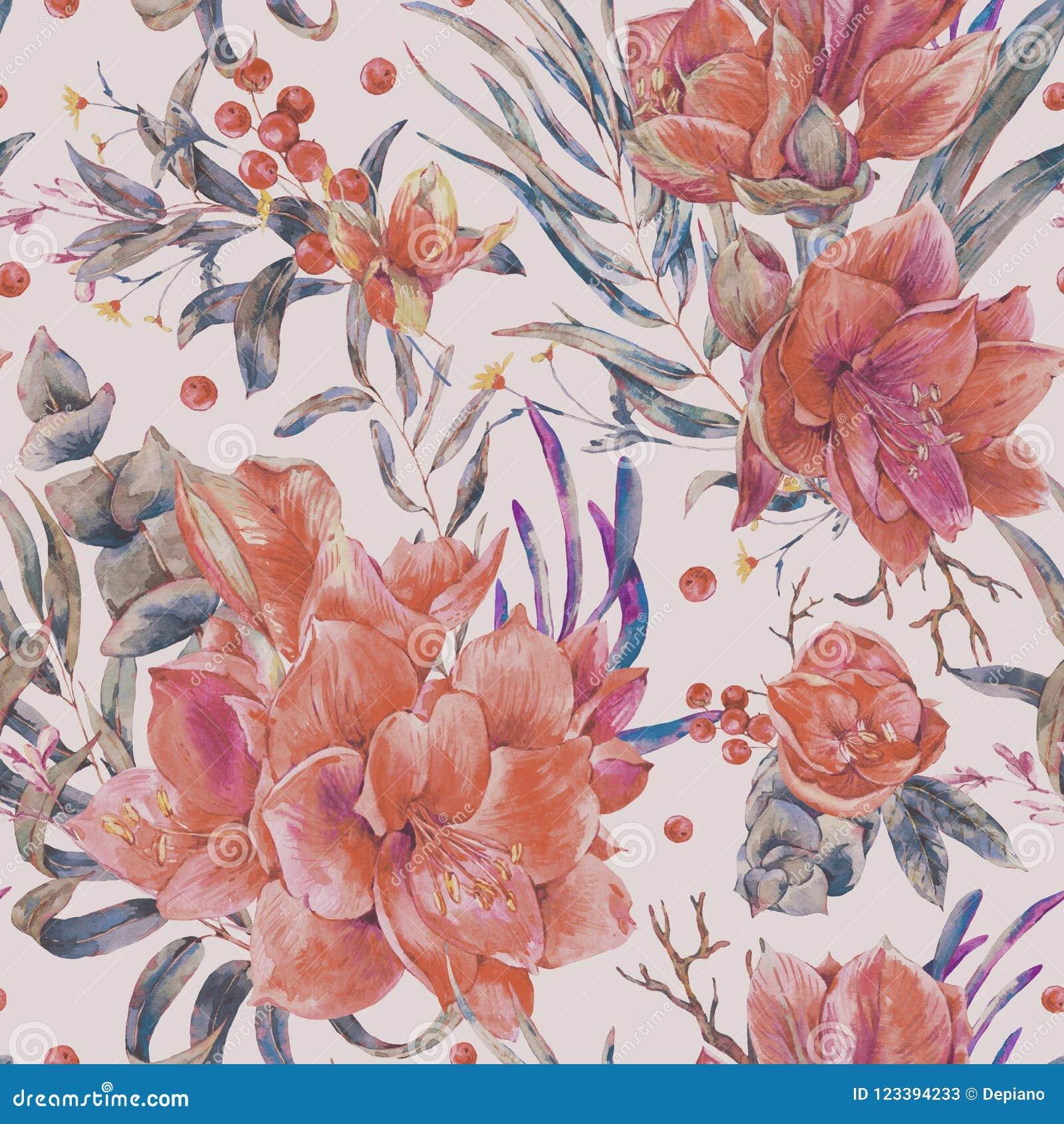 Картина акварели затрапезная флористическая безшовная красных цветков