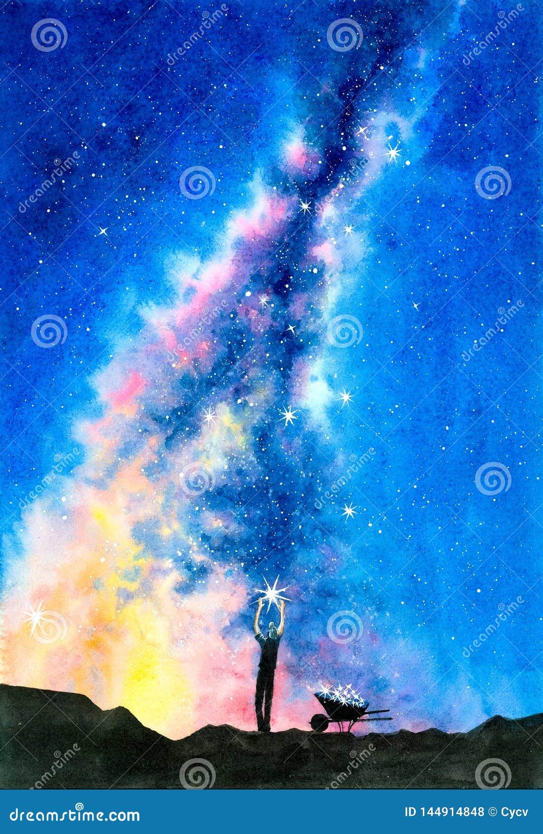 Картина акварели - звездная ночь с галактикой