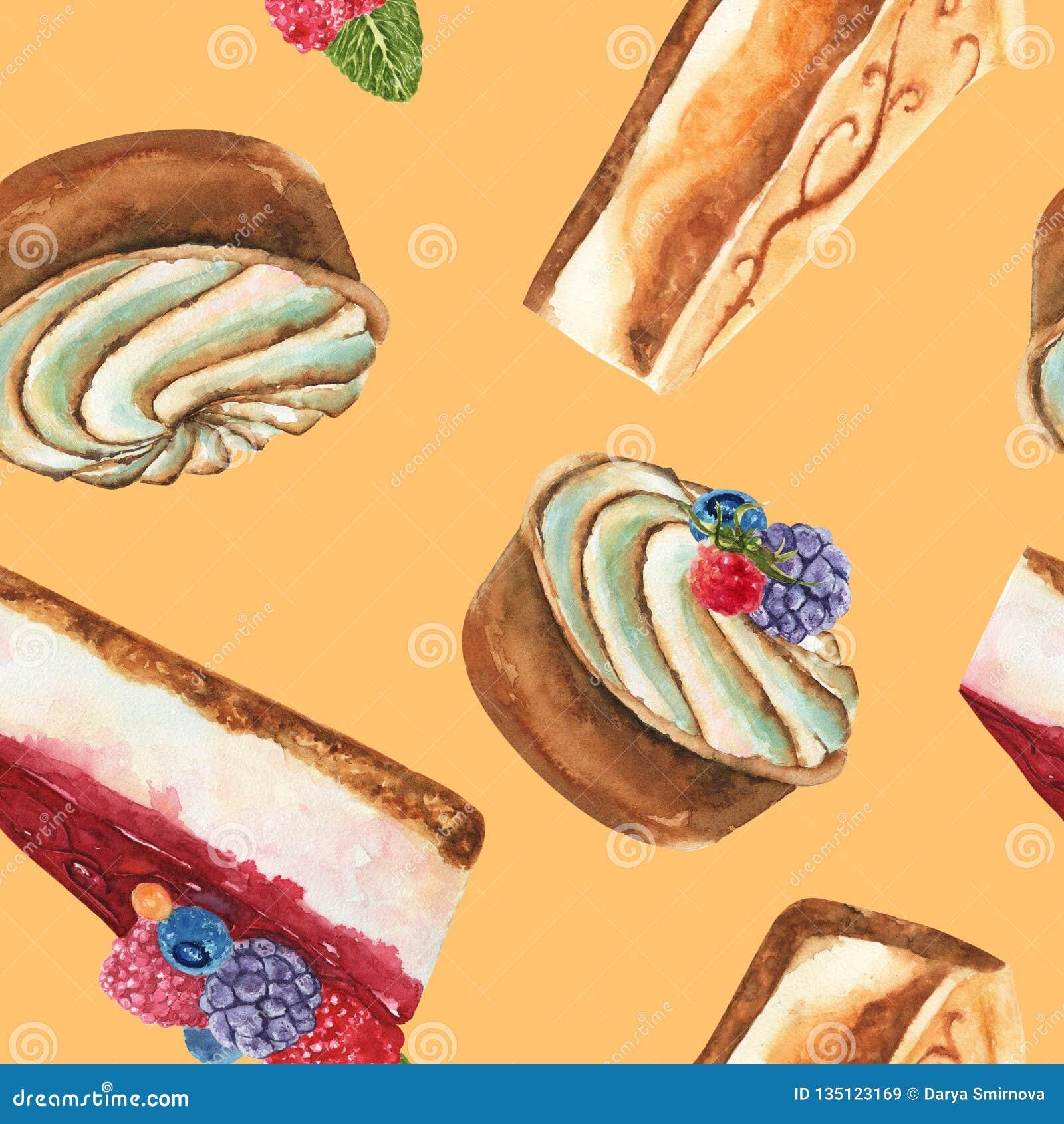 Картина акварели руки вычерченная безшовная с частью чизкейка, торта сливк кислых и чизкейка со свежими дикими ягодами