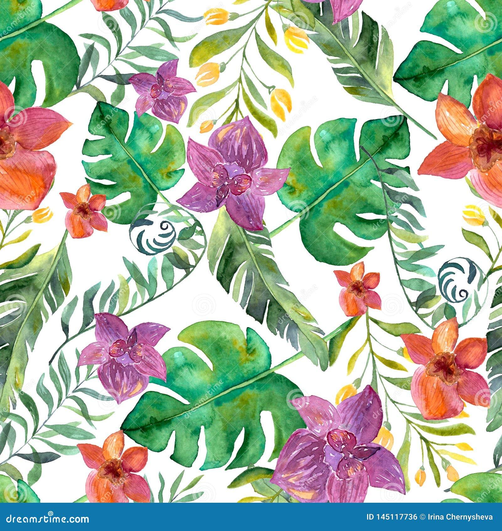 Картина акварели тропическая с цветками