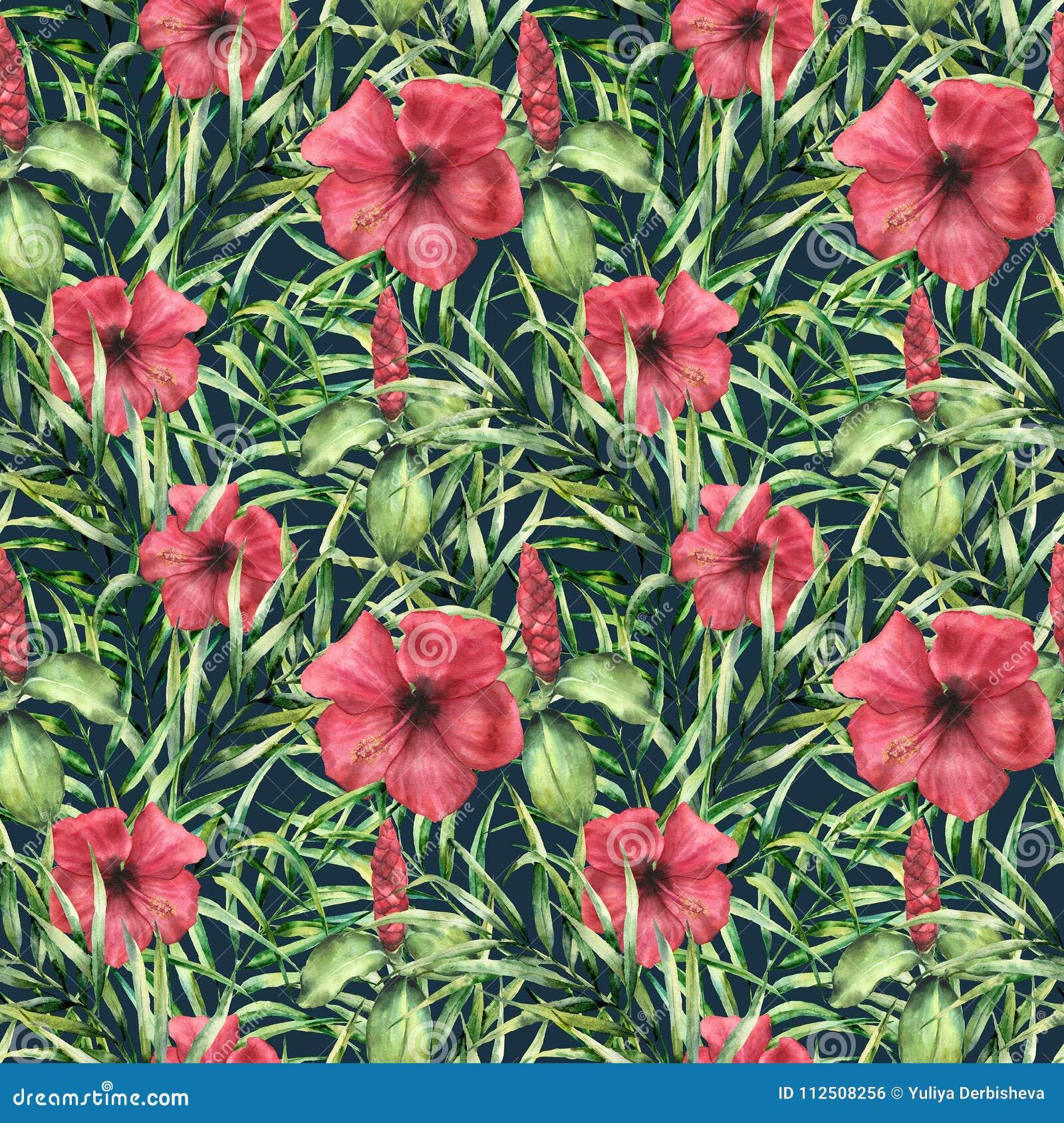 Картина акварели тропическая яркая с hibiskus Вручите покрашенные цветки с листьями ладони на синей предпосылке