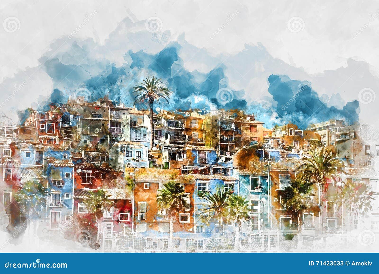 Картина акварели цифров горизонта Villajoyosa Испания
