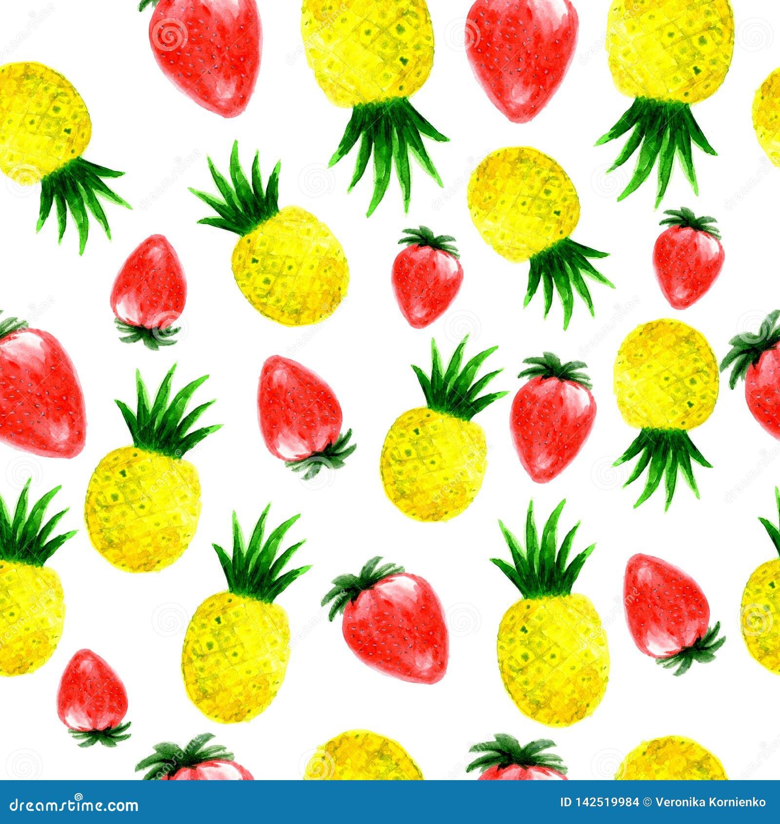 Картина ананаса и клубники акварели безшовная