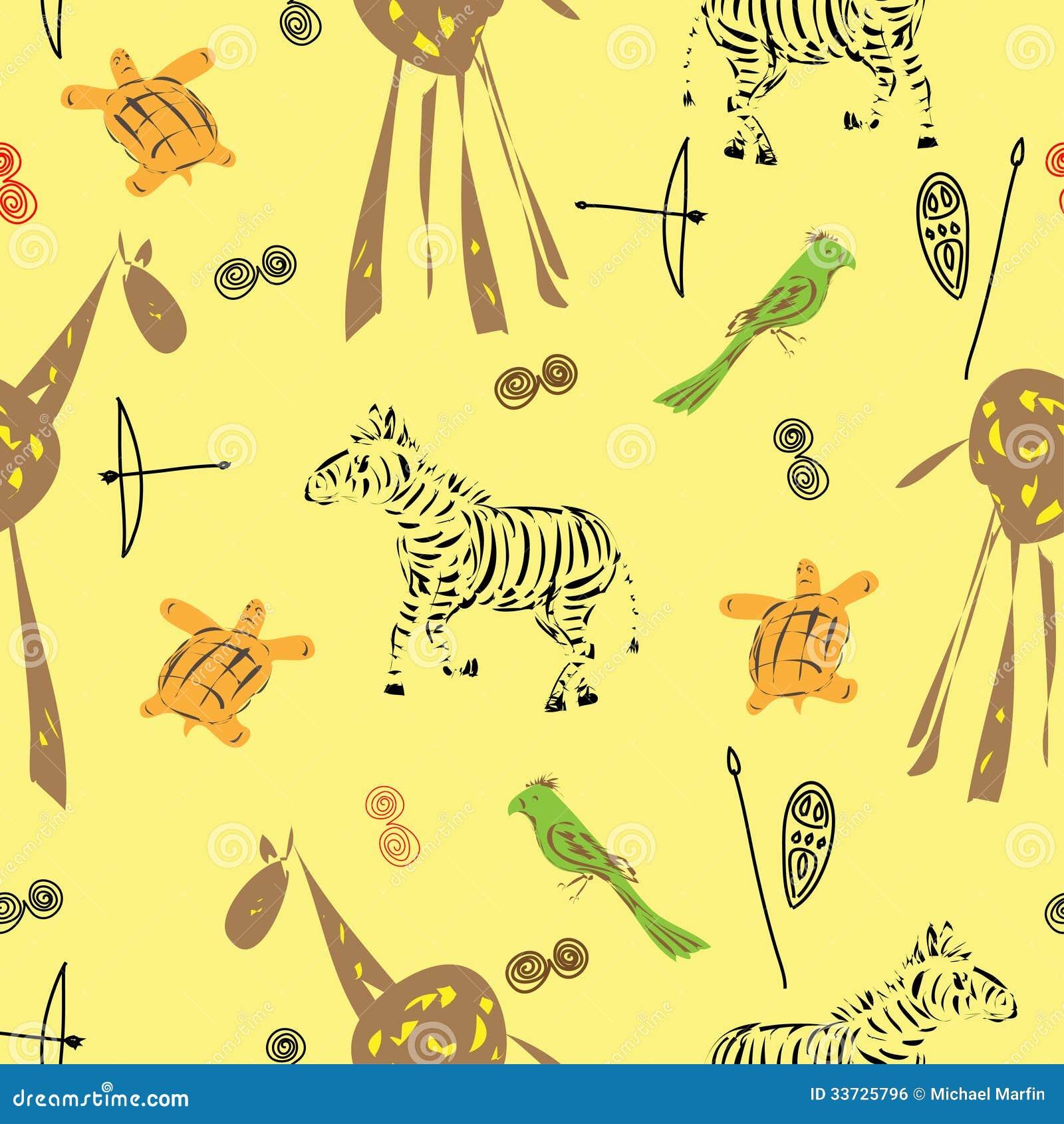 Картина безшовная с различными элементами животных