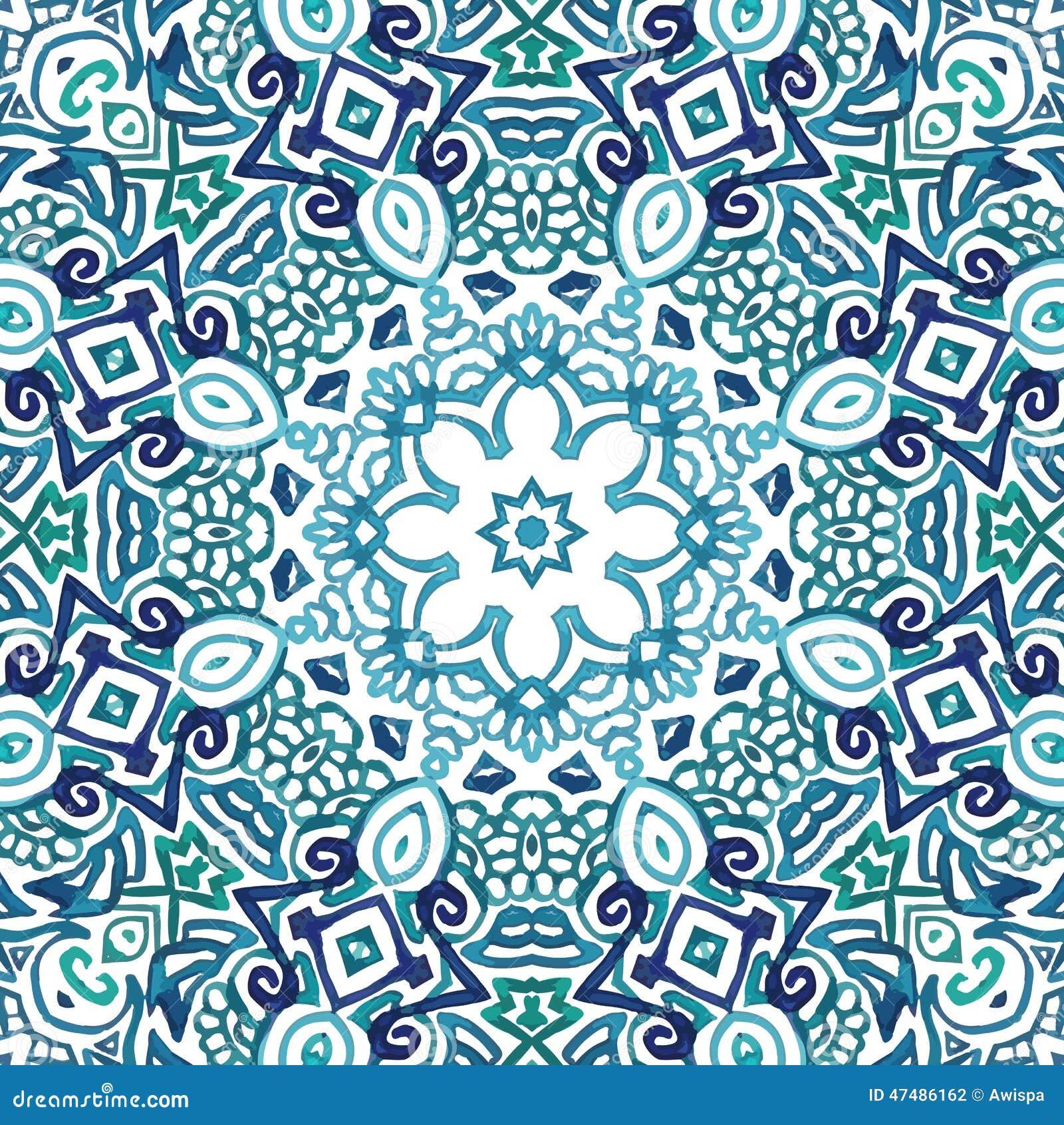 Картина безшовного doodle акварели декоративная