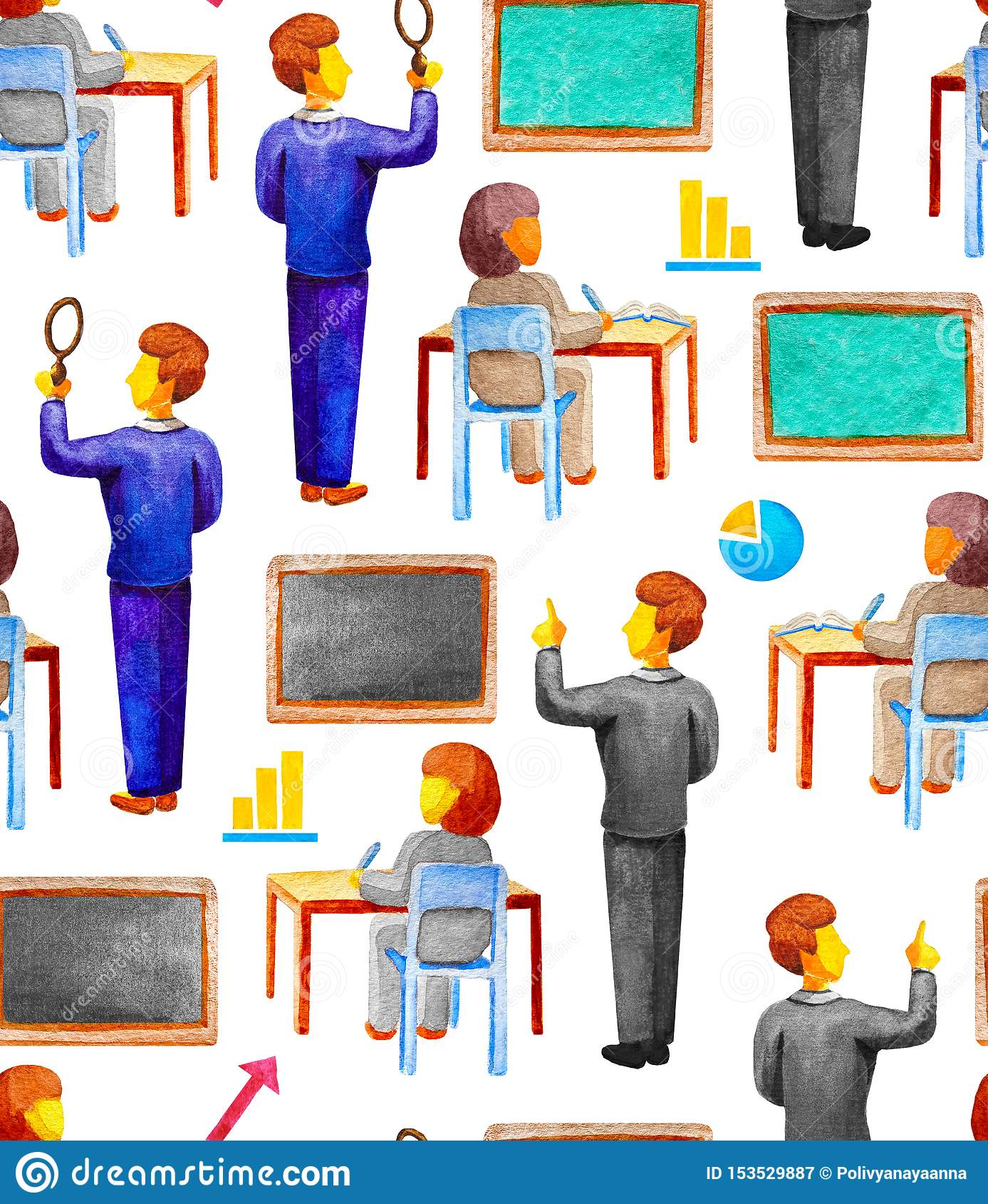 Картина безшовной школы воспитательная с учителем и студентом на столе в стиле акварели на белой предпосылке Доска мела,